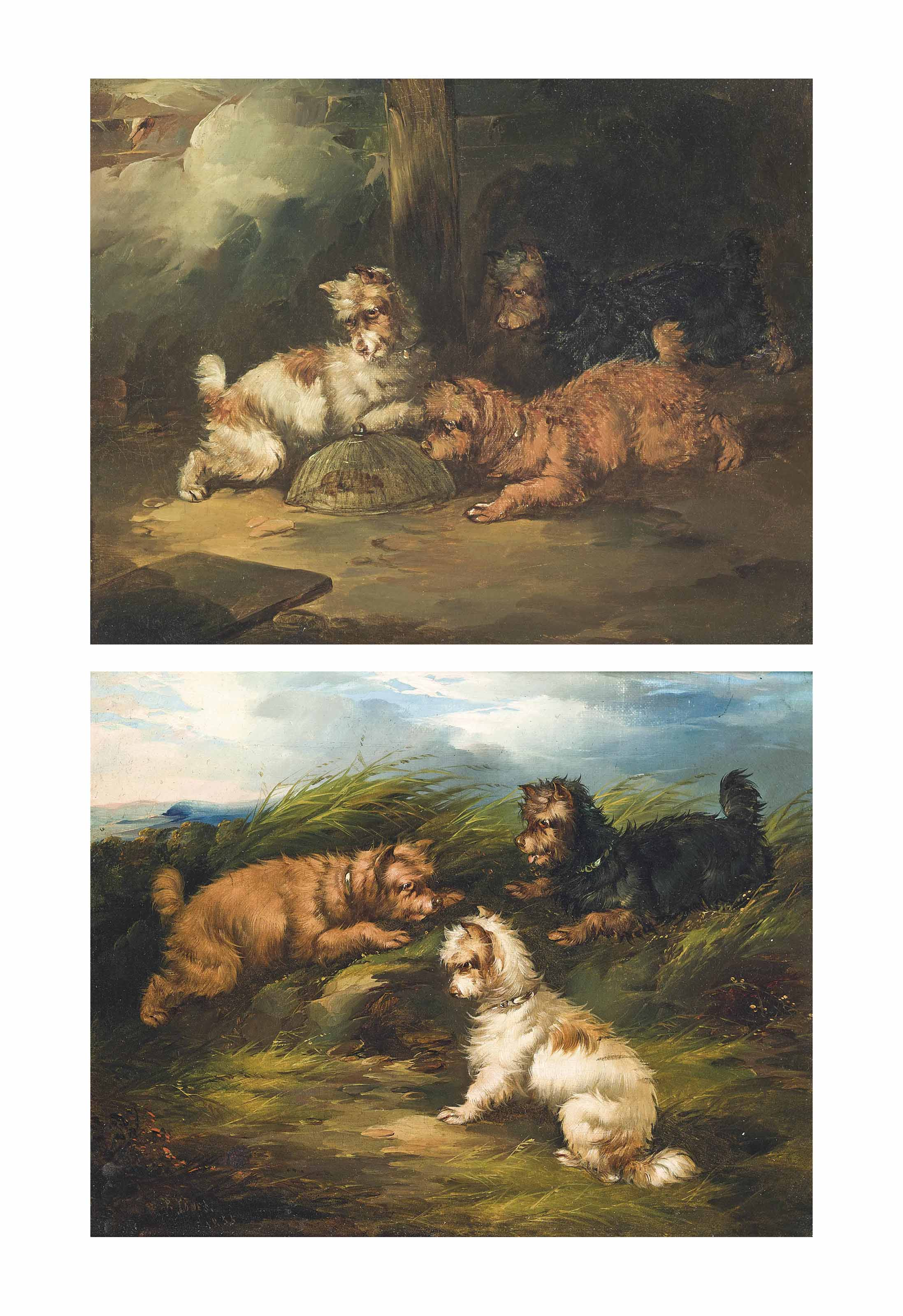 Terriers ratting on the moor; and Terriers with the catch, a pair