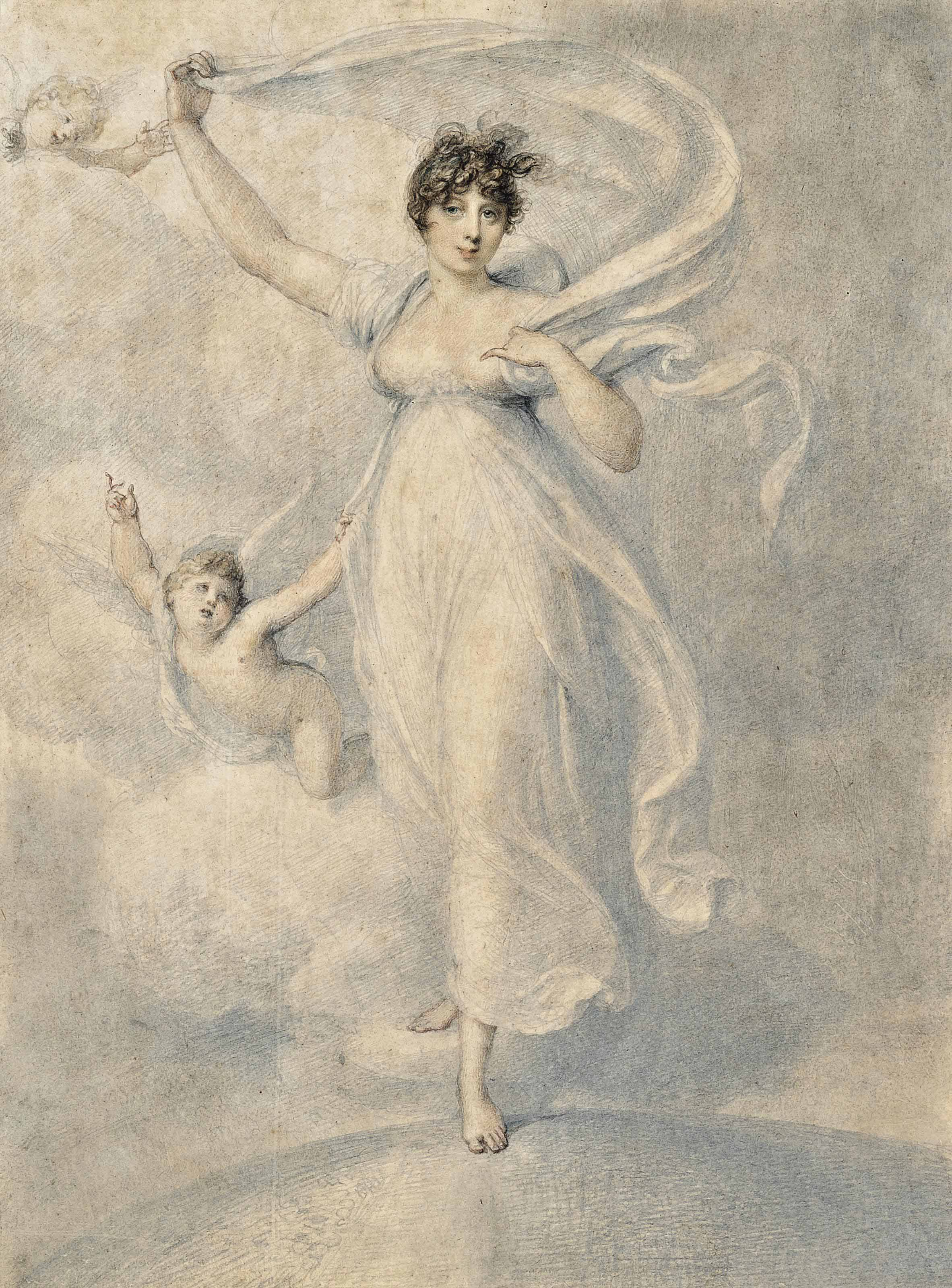 Portrait of Maria Caroline Duff, née Manners (1775 - 1805), full-length, in a white dress, standing on a globe accompanied by two cherubs