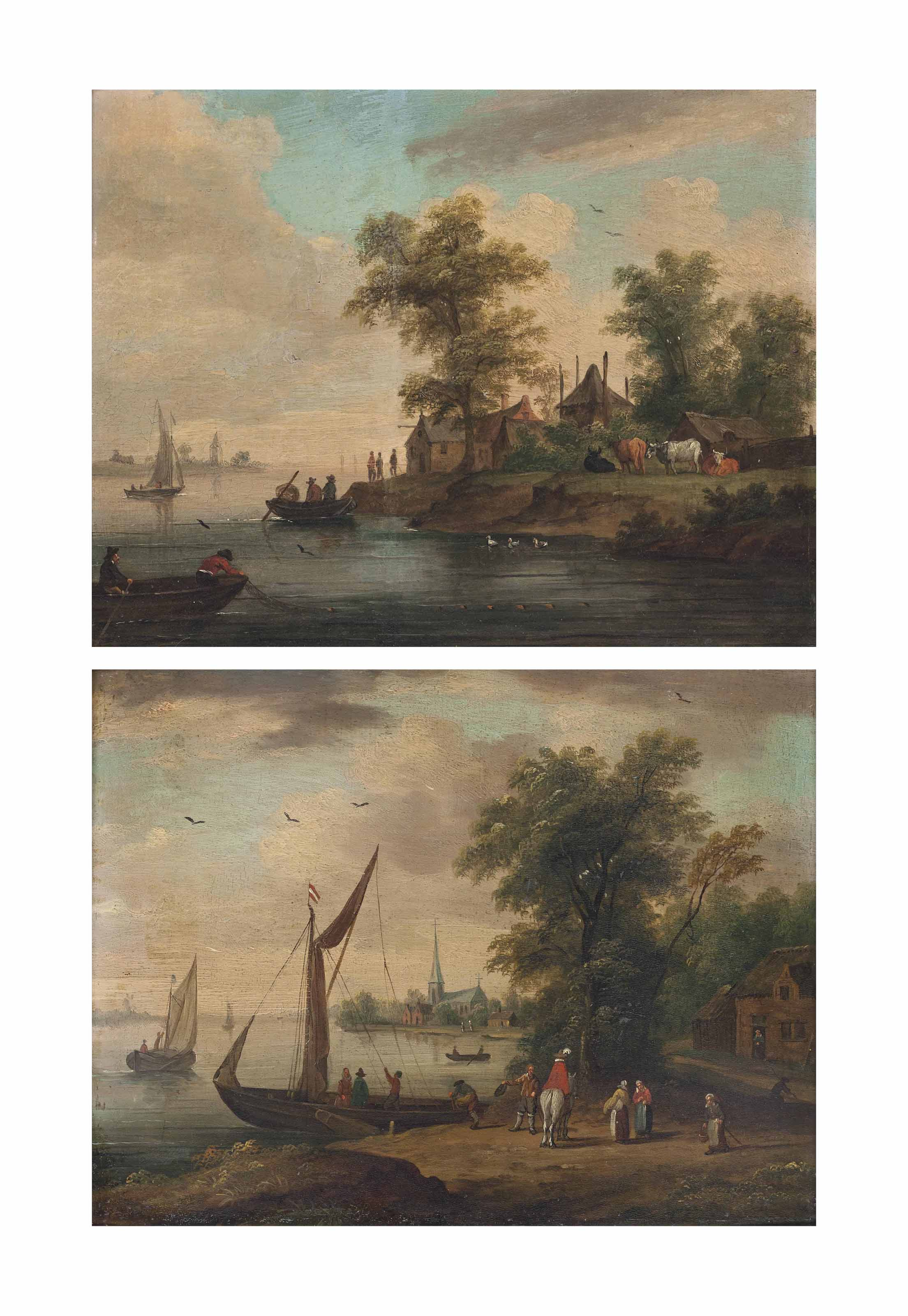 Figures beside a riverbank with a boat preparing to set sail, a village beyond; and An estuary scene with a fishing boat drawing its nets, a village on the shore beyond with cattle grazing