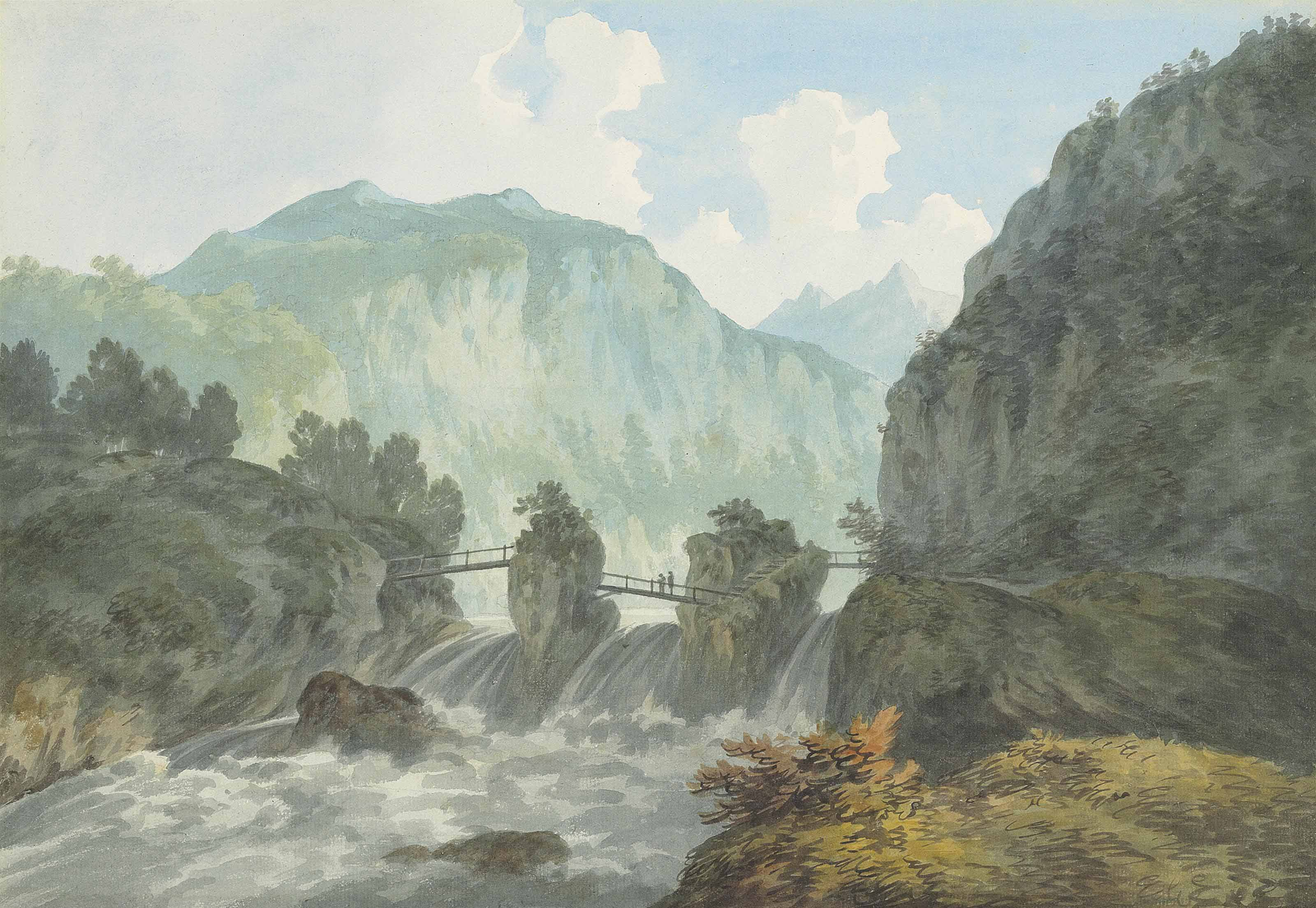 View of a bridge over the River Trient, near Chamonix, on the French-Swiss border