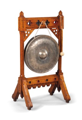 A VICTORIAN GOTHIC OAK GONG