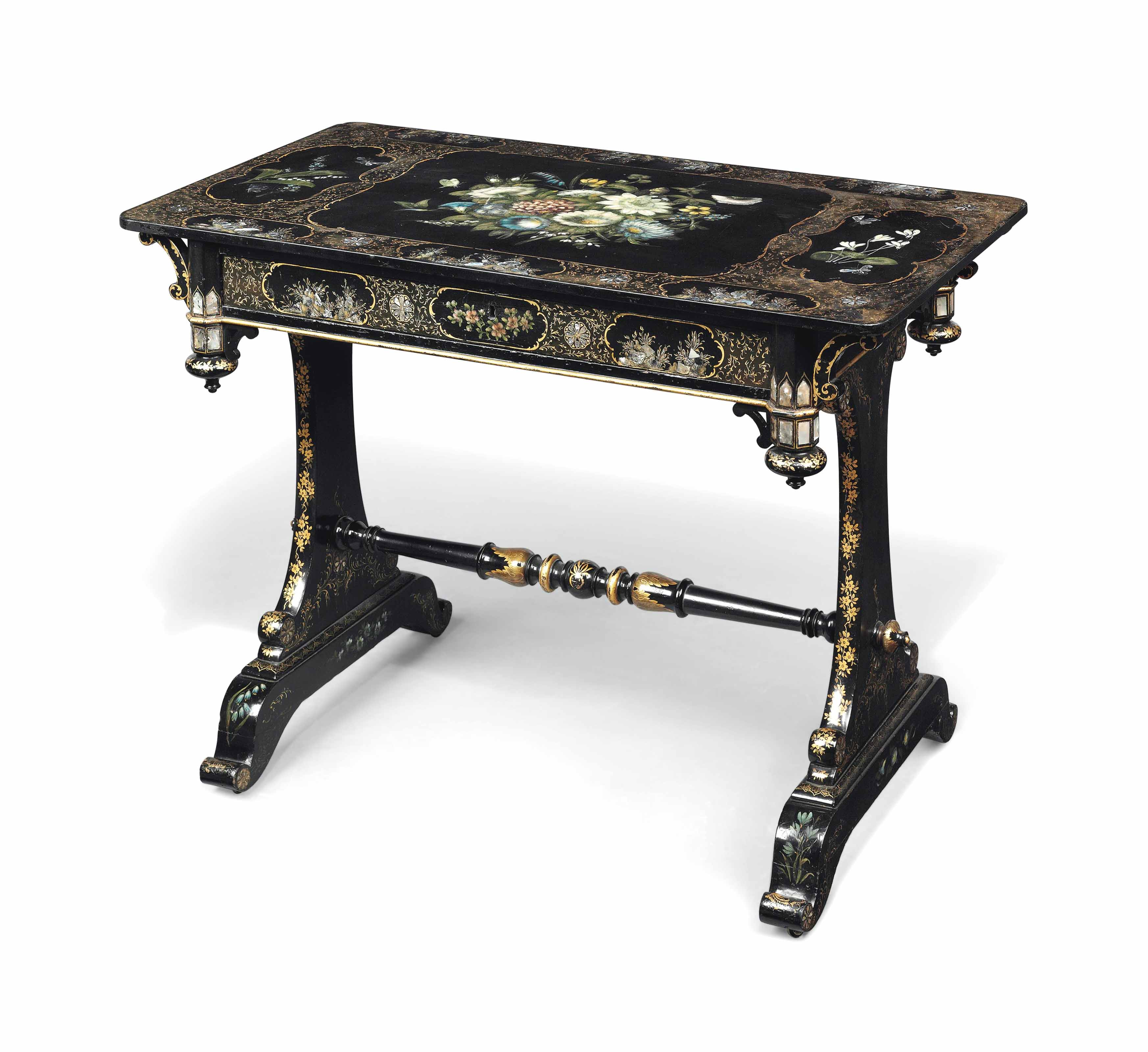 A VICTORIAN POLYCHROME-PAINTED, GILT-DECORATED AND MOTHER-OF-PEARL INLAID SLATE-TOPPED EBONISED SIDE TABLE