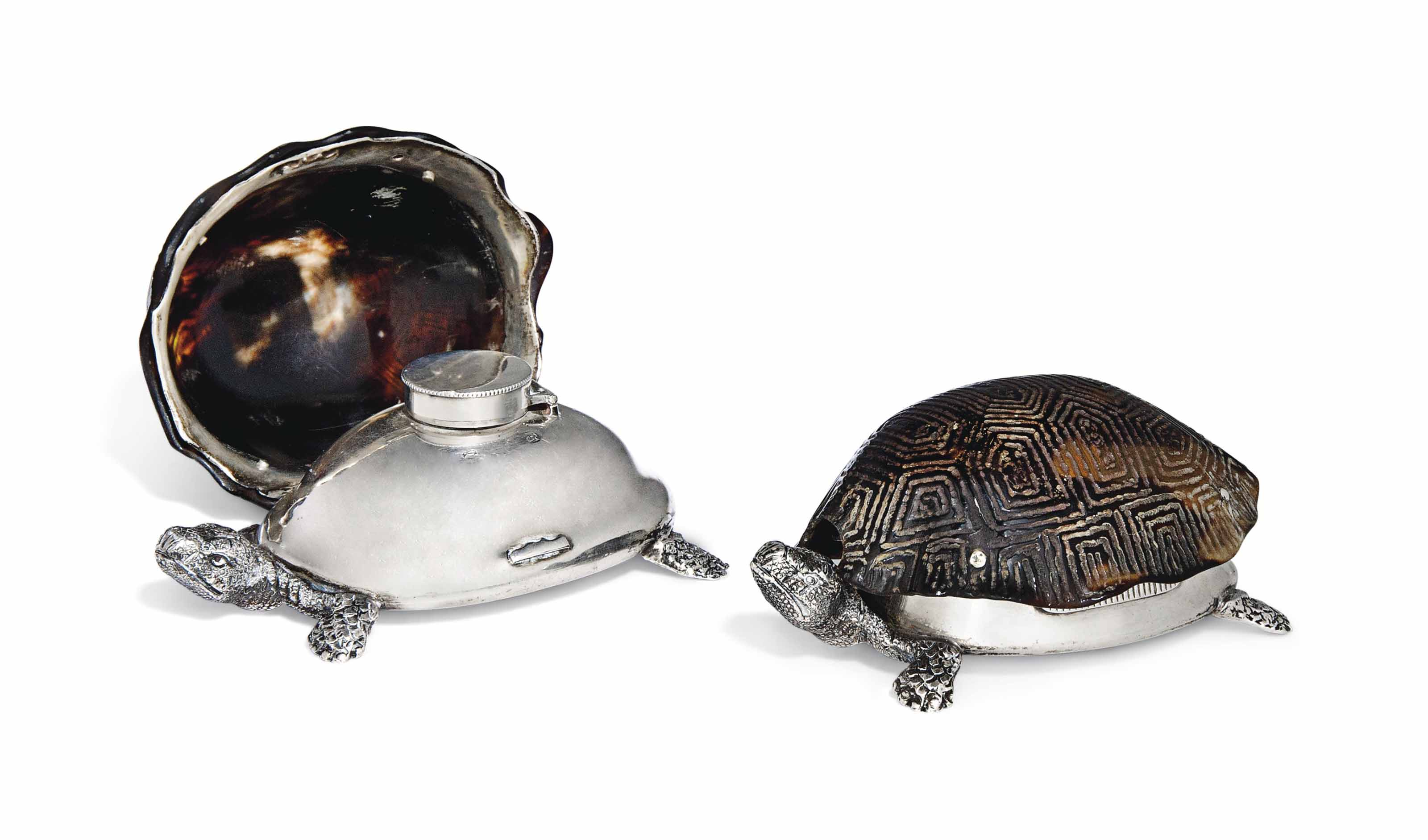 A VICTORIAN SILVER AND TORTOISESHELL NOVELTY VESTA CASE WITH SCENT BOTTLE EN SUITE