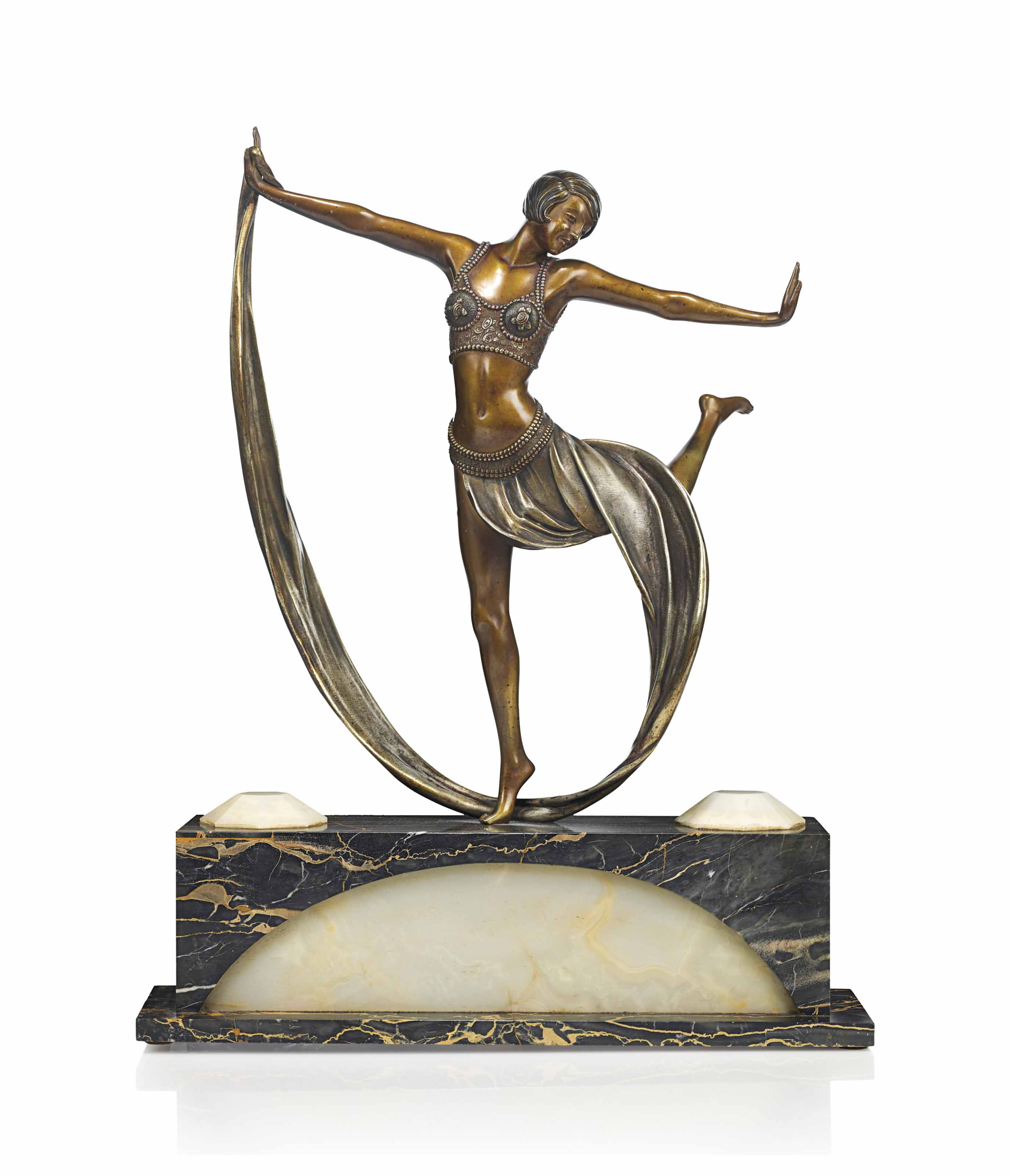 A CLAIRE JEANNE ROBERTE COLINET (1880-1950) ART DECO PATINATED AND COLD-PAINTED BRONZE FIGURE WITH ILLUMINATED BASE