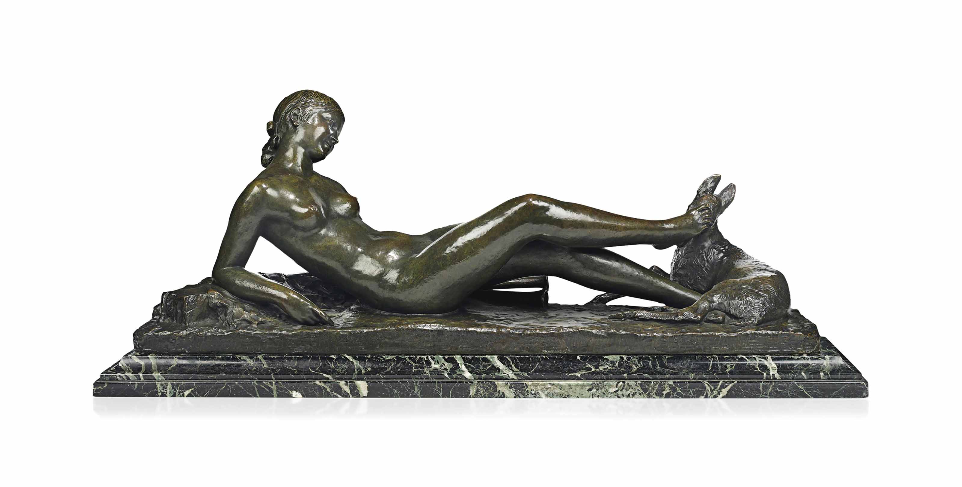 AN ARY BITTER (1883-1960) PATINATED BRONZE GROUP