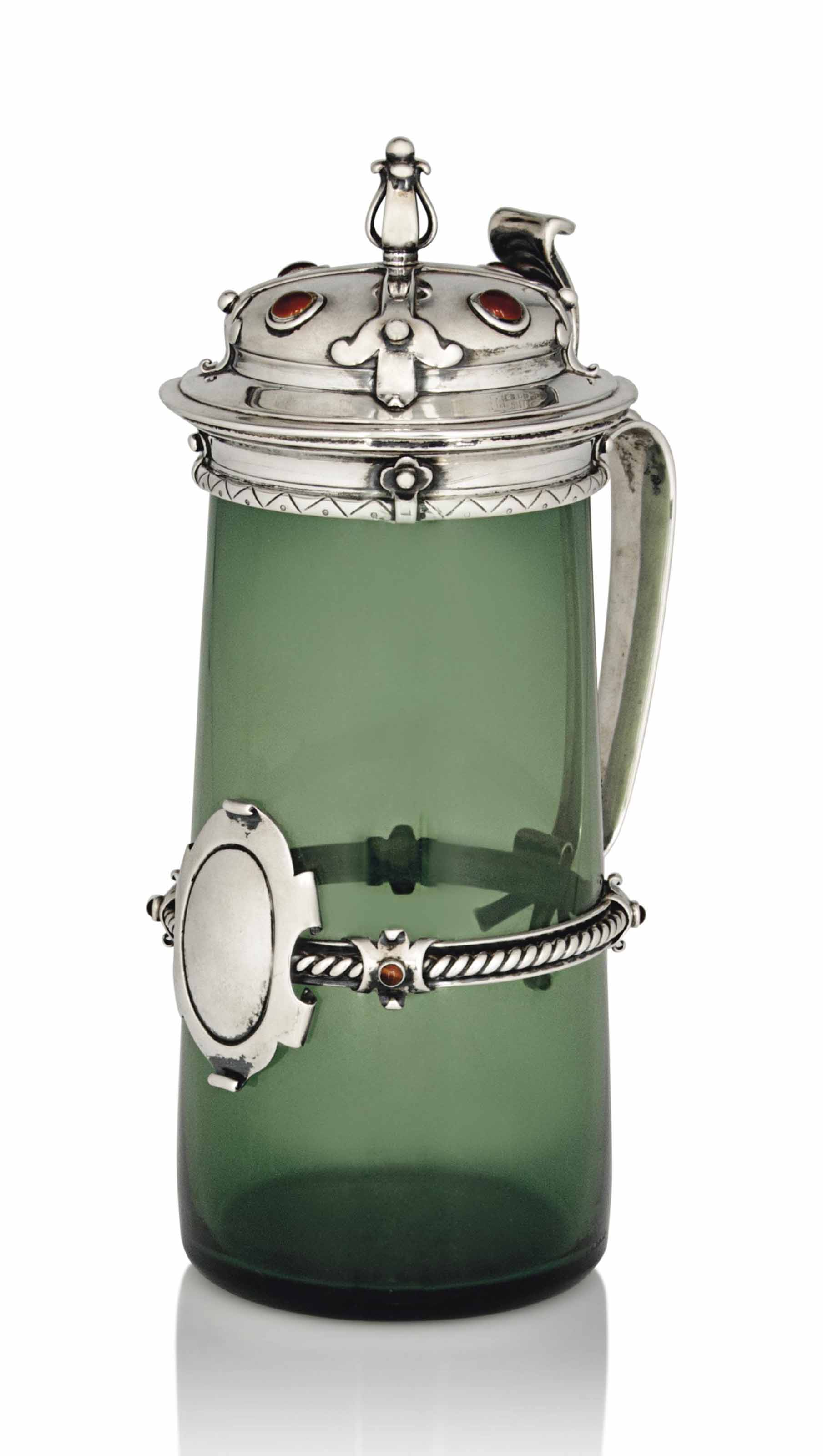 AN ARTS & CRAFTS SILVER, GLASS AND ENAMEL TANKARD ATTRIBUTED TO JOHNSON WAKER & TOLHURST