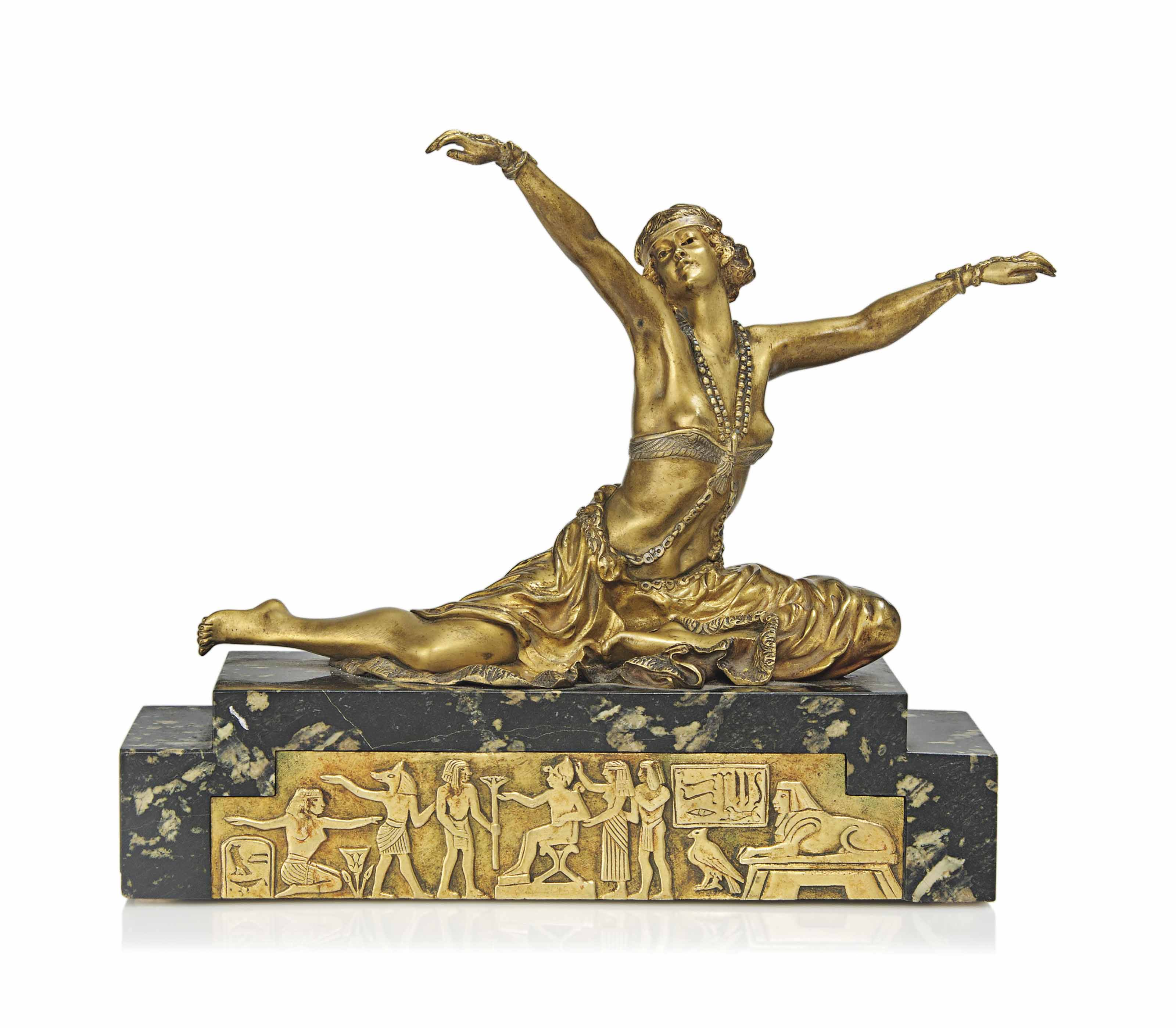 A CLAIRE-JEANNE-ROBERTE COLINET (1880-1950) GILT AND COLD-PAINTED BRONZE