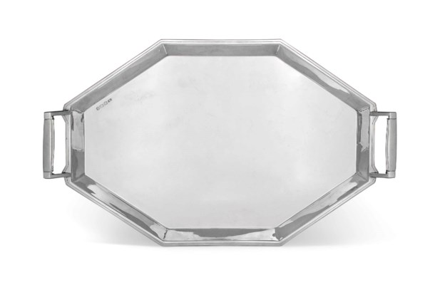 AN OCTAGONAL SILVER TWO-HANDLE