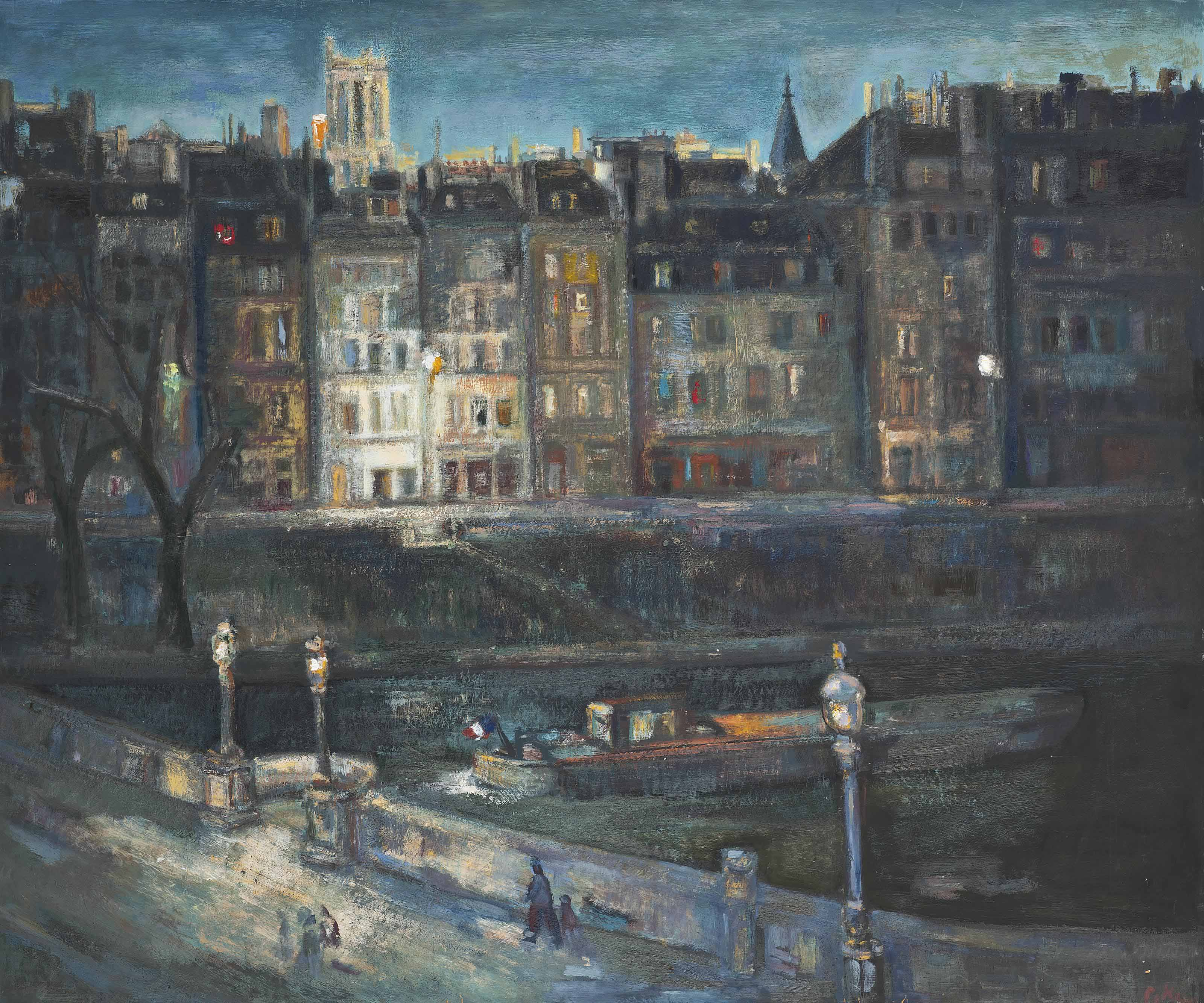 A winters evening on the Seine