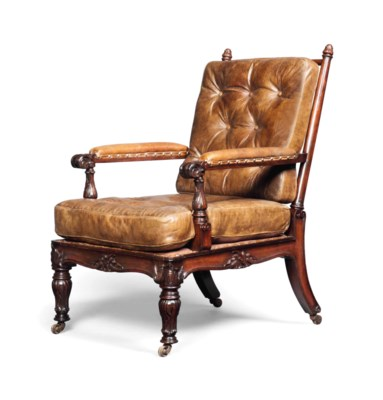 A WILLIAM IV ROSEWOOD ARMCHAIR