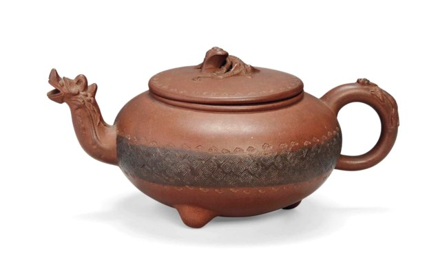 A CHINESE YIXING TEAPOT AND CO