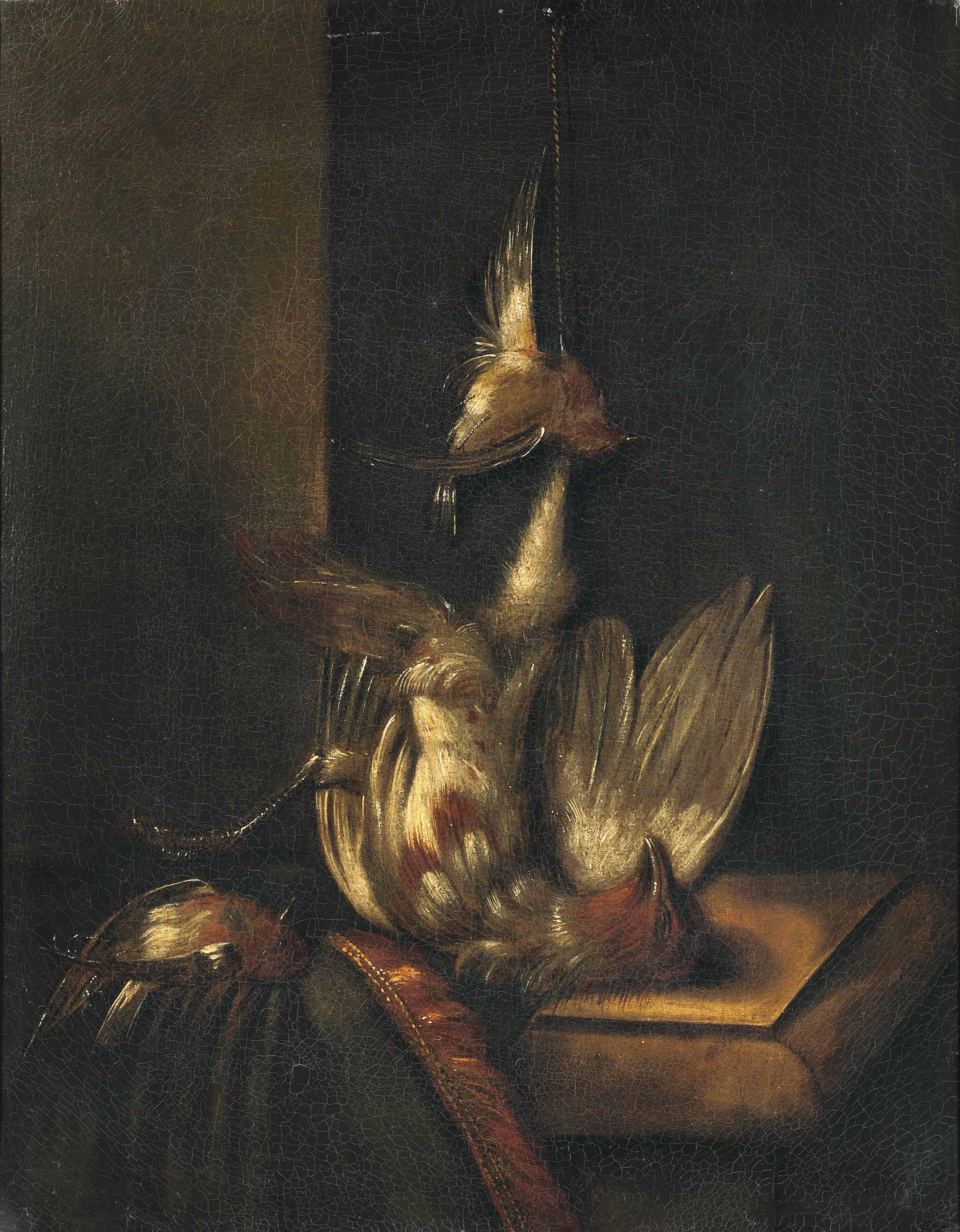 Still life of finches; and Still life of a partridge and other birds