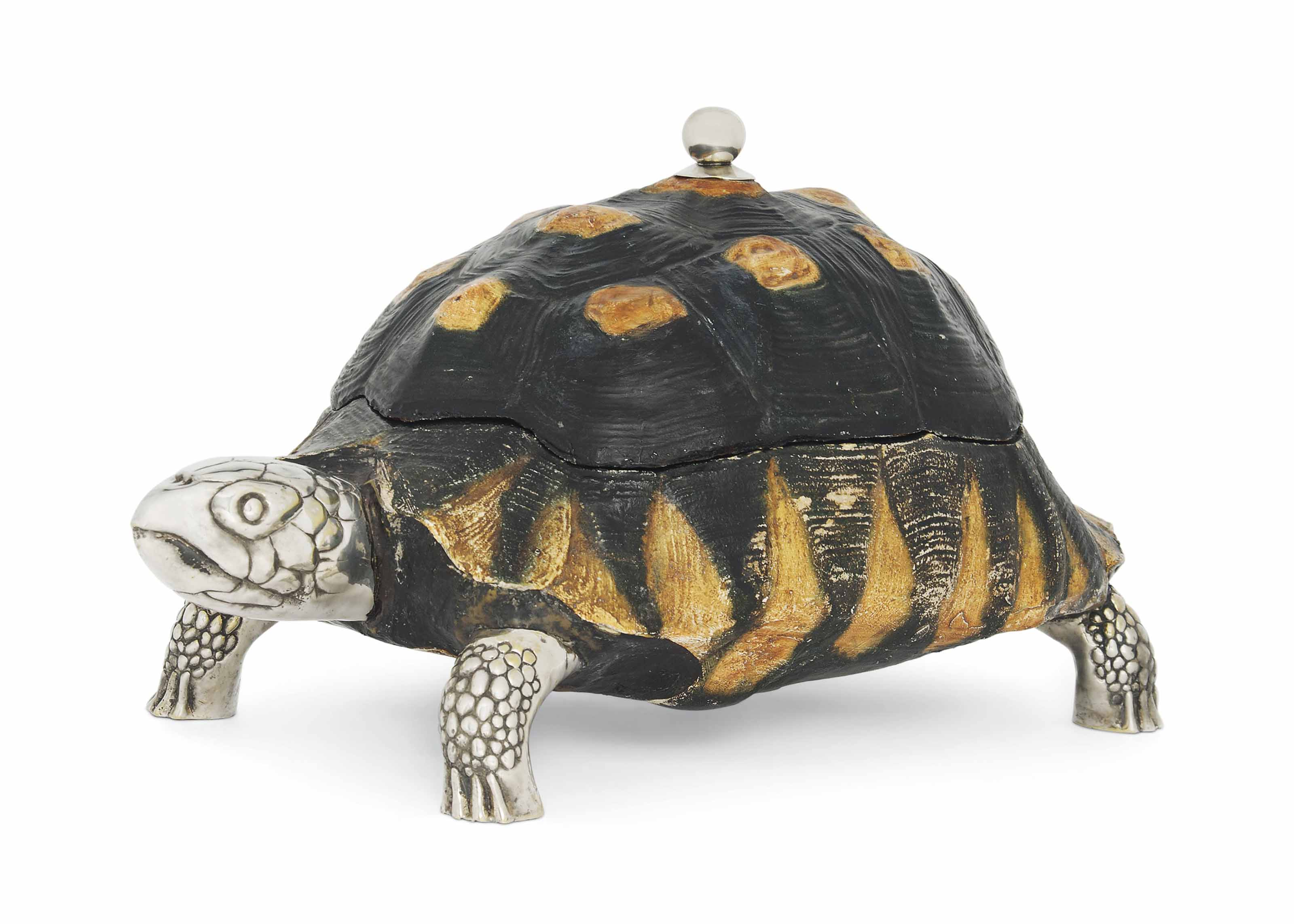 AN ANTHONY REDMILE SILVER-PLATED AND COMPOSITION TORTOISE CENTRE PIECE