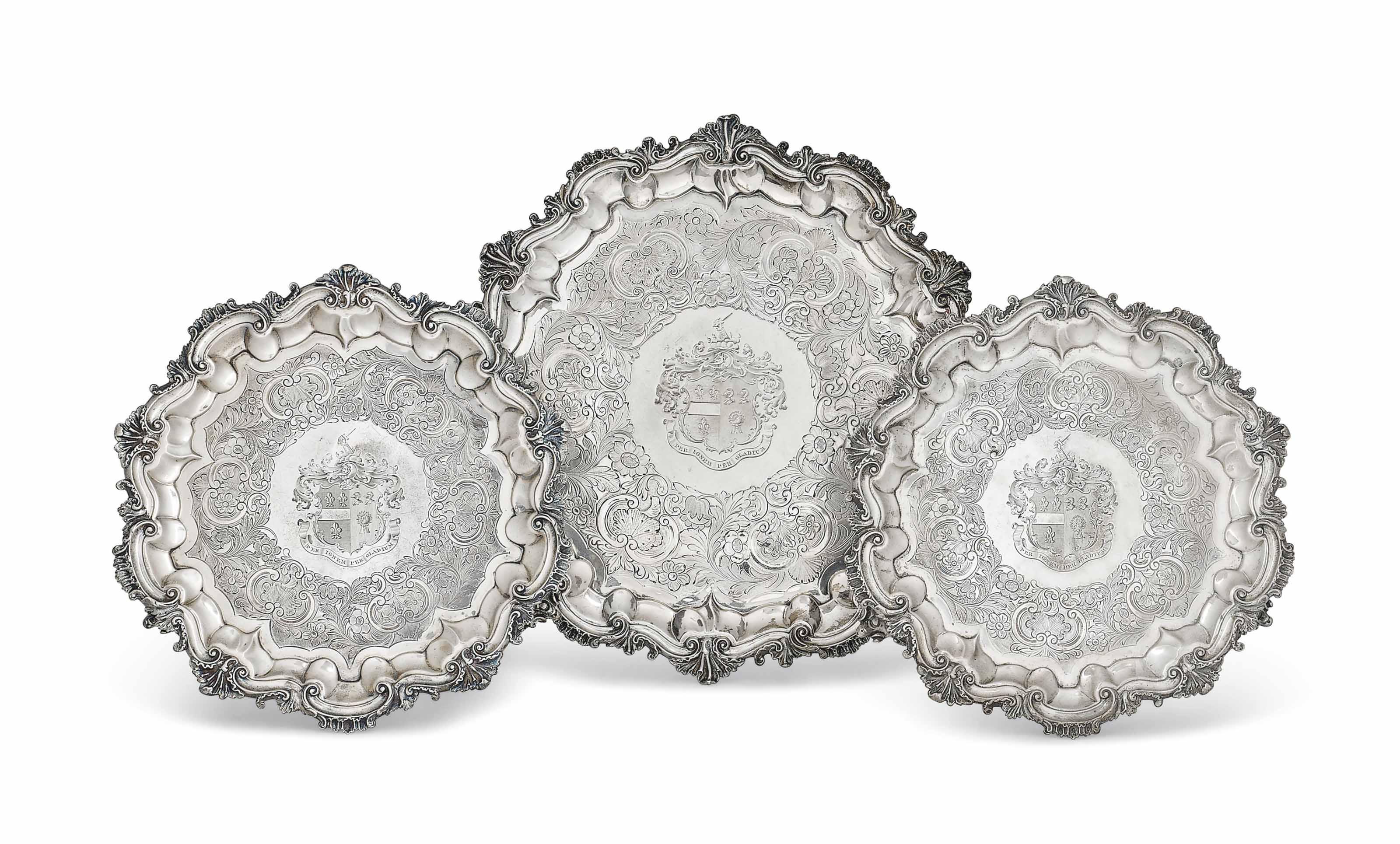 A SUITE OF THREE WILLIAM IV SILVER SALVERS