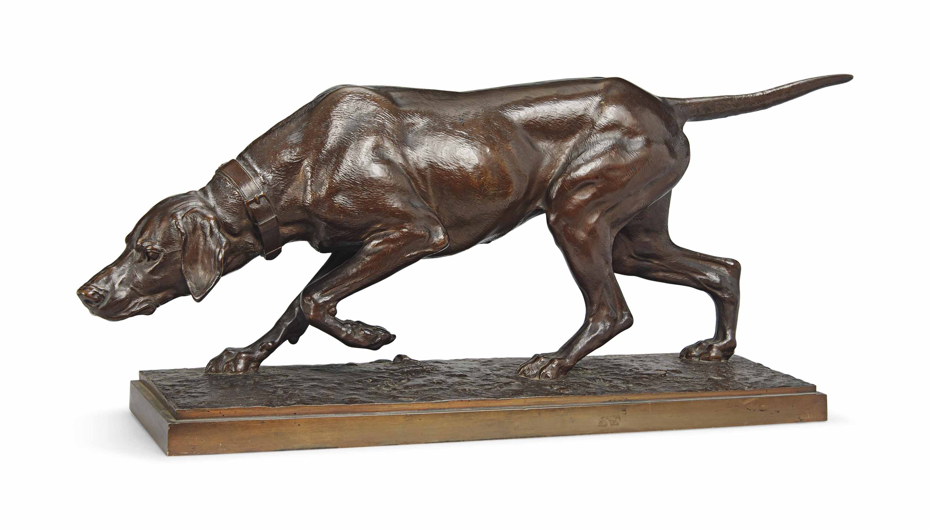 A FRENCH BRONZE MODEL OF A HOUND