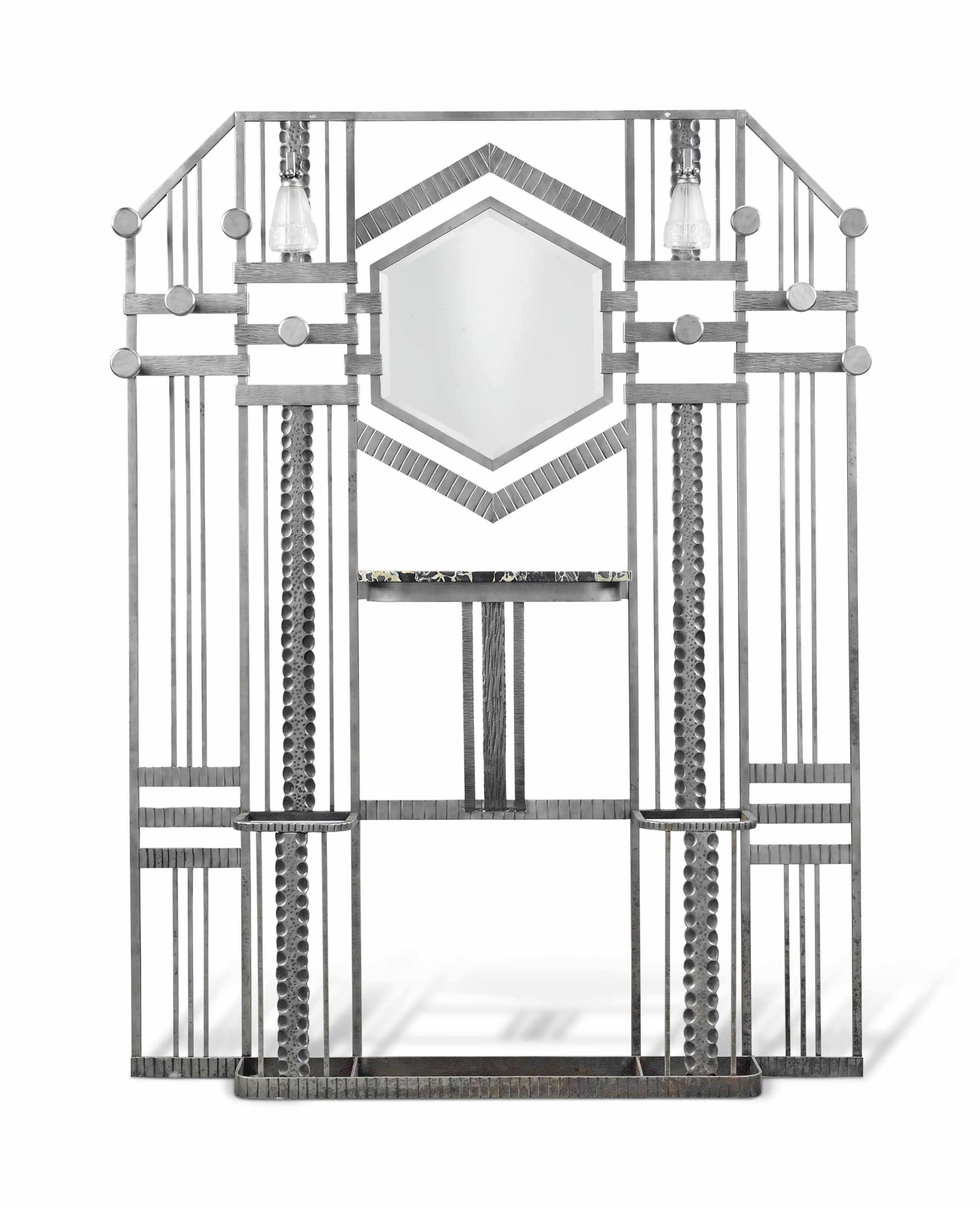 A PAUL KISS (1885-1962) ART DECO WROUGHT-IRON, PORTOR MARBLE AND GLASS HALL STAND