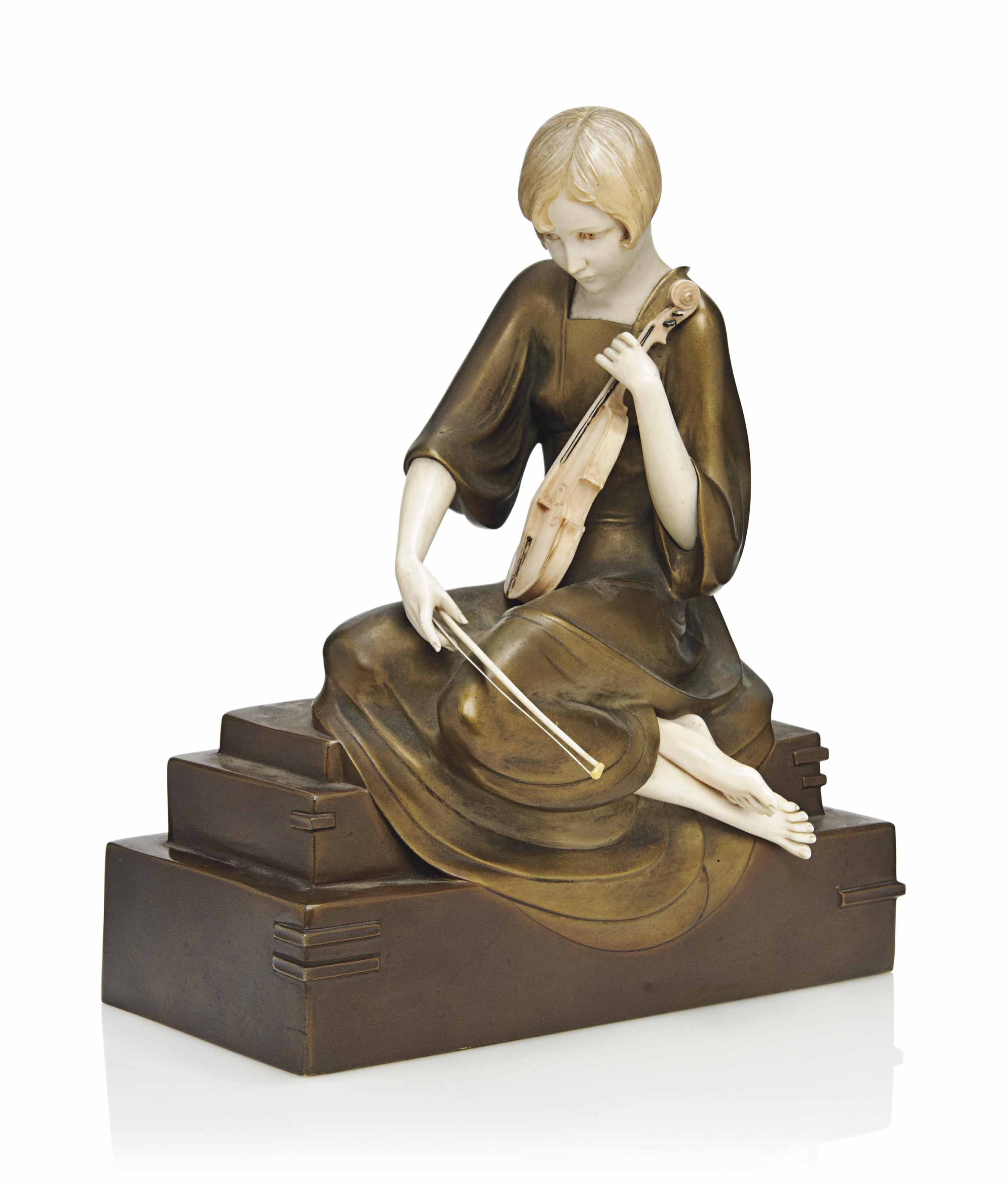 A PAUL PHILIPPE (1870-1930) ART DECO COLD-PAINTED BRONZE AND IVORY FIGURE