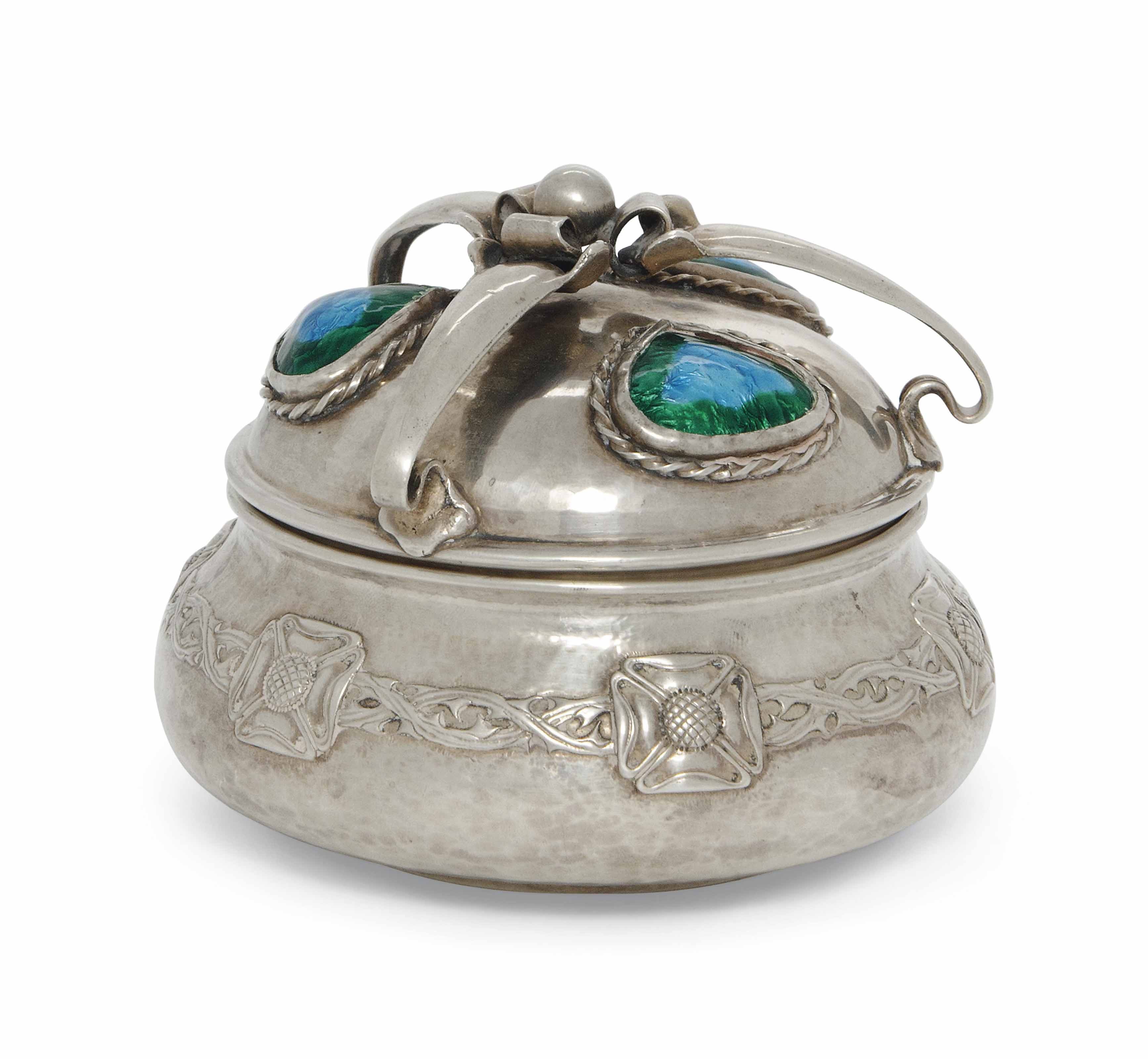 AN EDWARDIAN SILVER AND ENAMEL ARTS AND CRAFTS COVERED POT