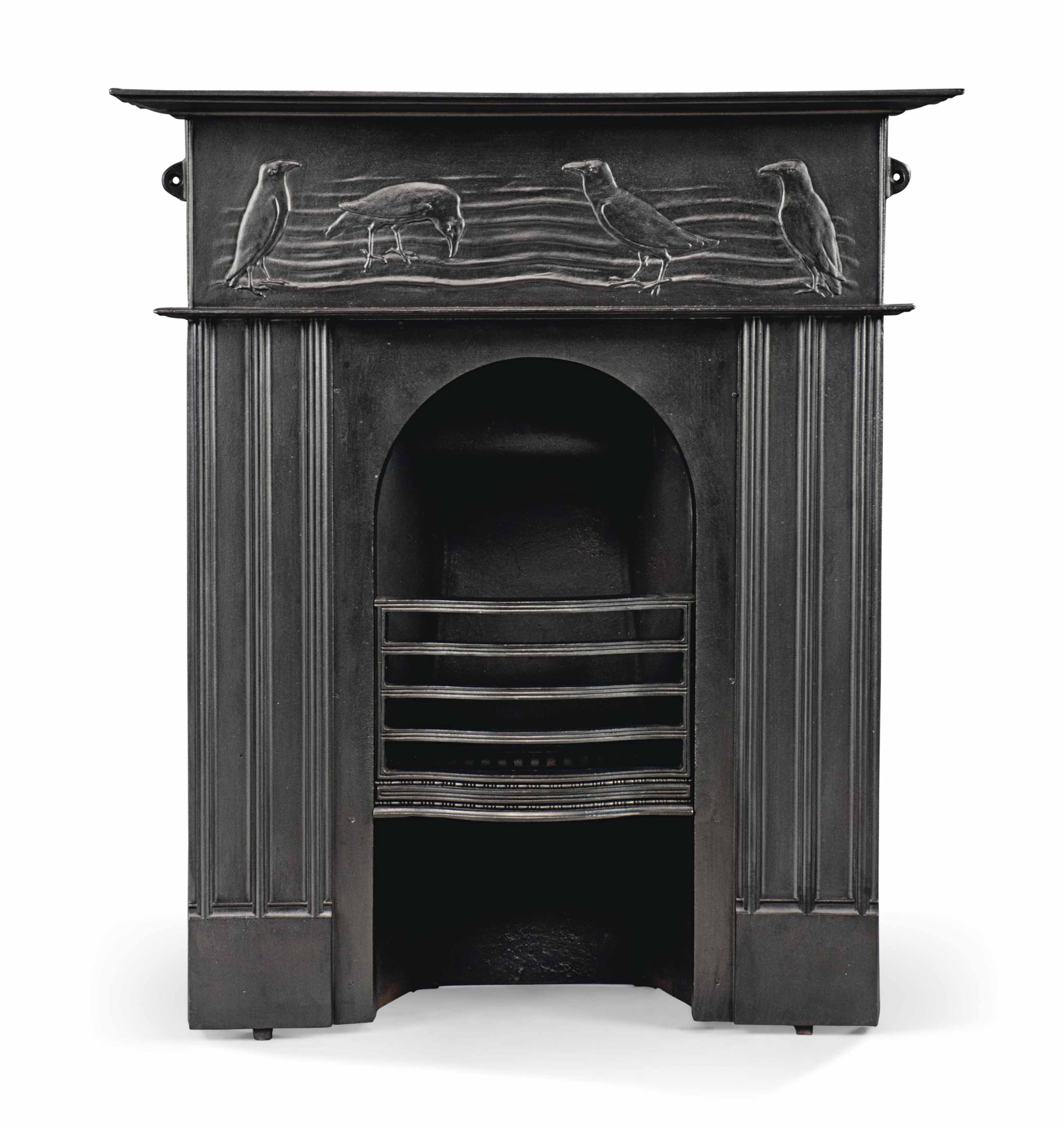 A C. F. A. VOYSEY (1857-1941) CAST-IRON FIRE-SURROUND