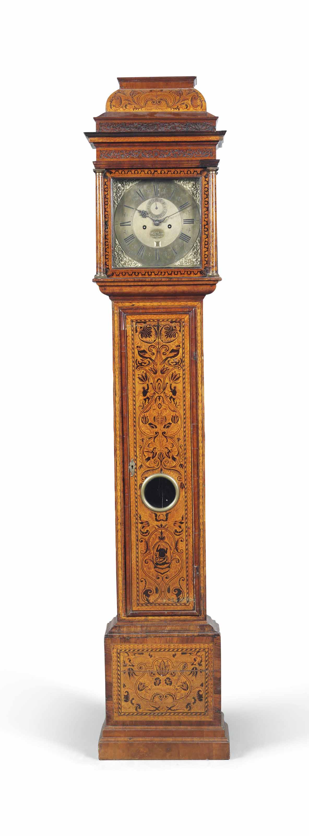 A QUEEN ANNE WALNUT AND MARQUETRY STRIKING LONGCASE CLOCK