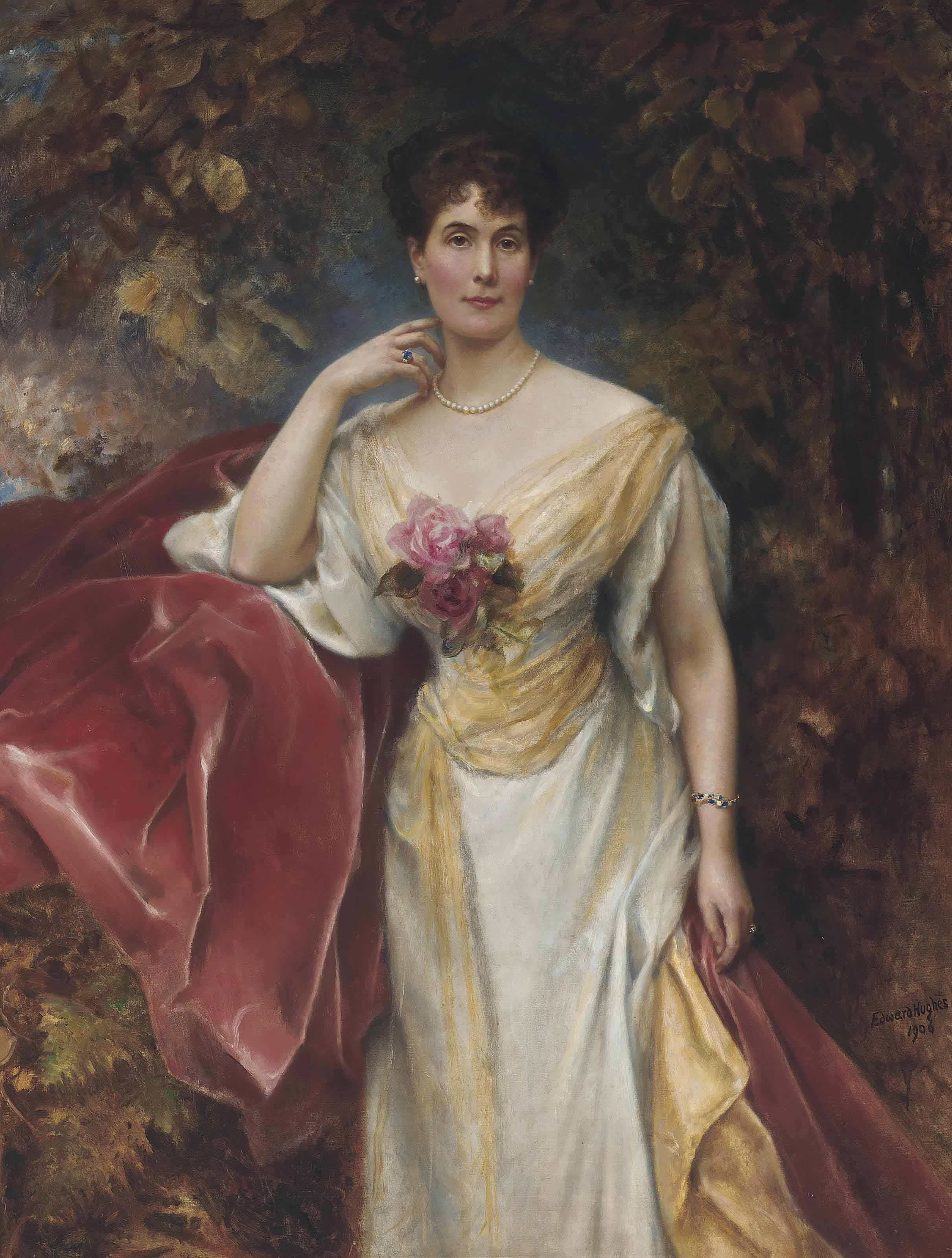 Portrait of a lady wearing a white dress, with a sapphire and diamond bracelet and ring and a pearl necklace