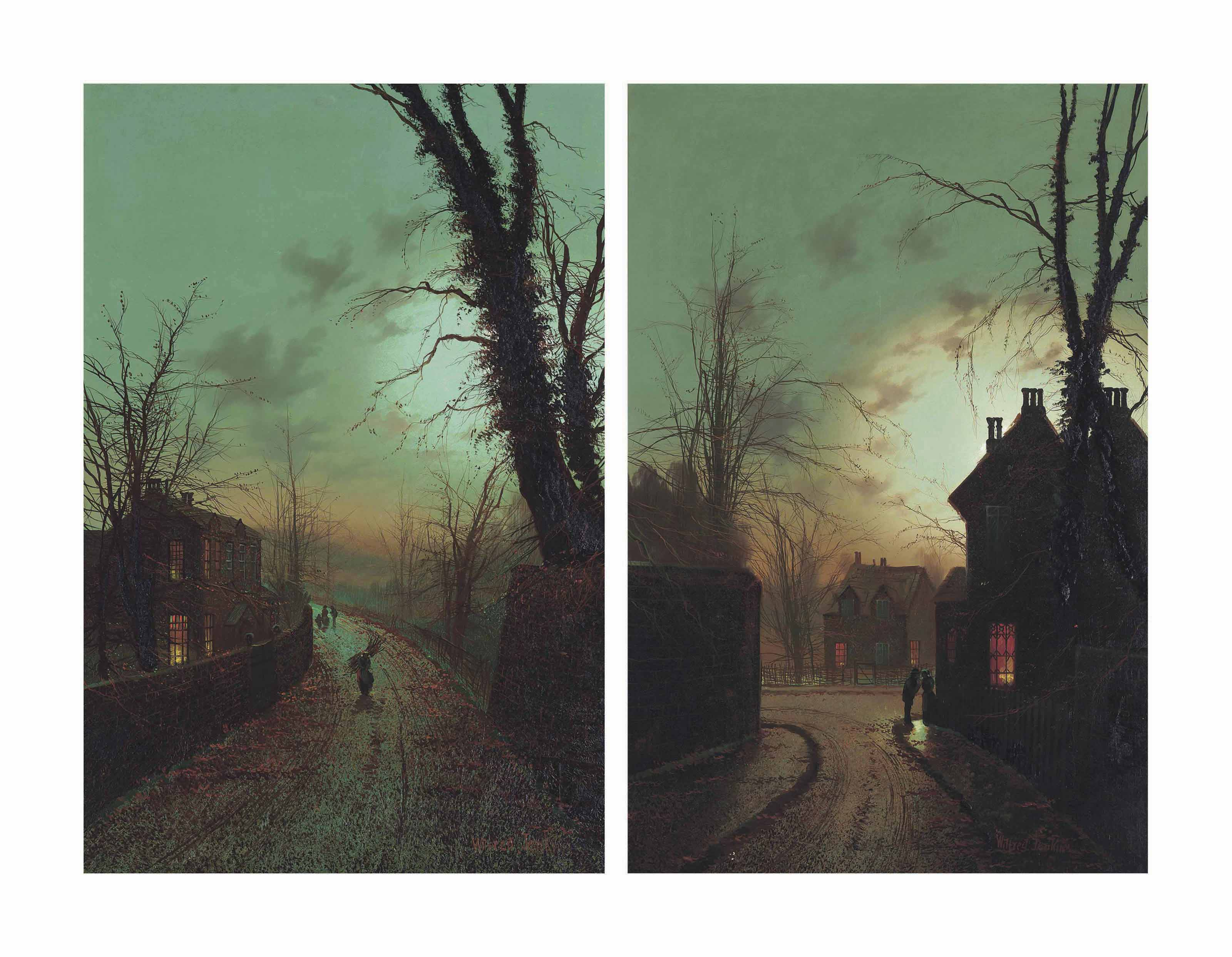 A moonlit street with a peasant carrying firewood; and A moonlit scene with a couple conversing on a street corner