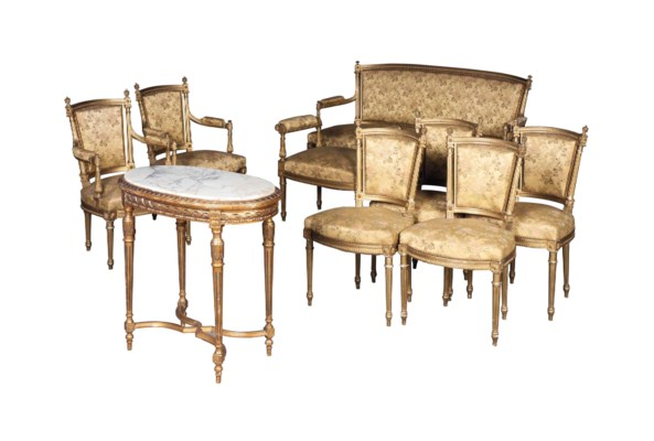 A french giltwood salon suite of louis xvi style early for 212 salon st louis