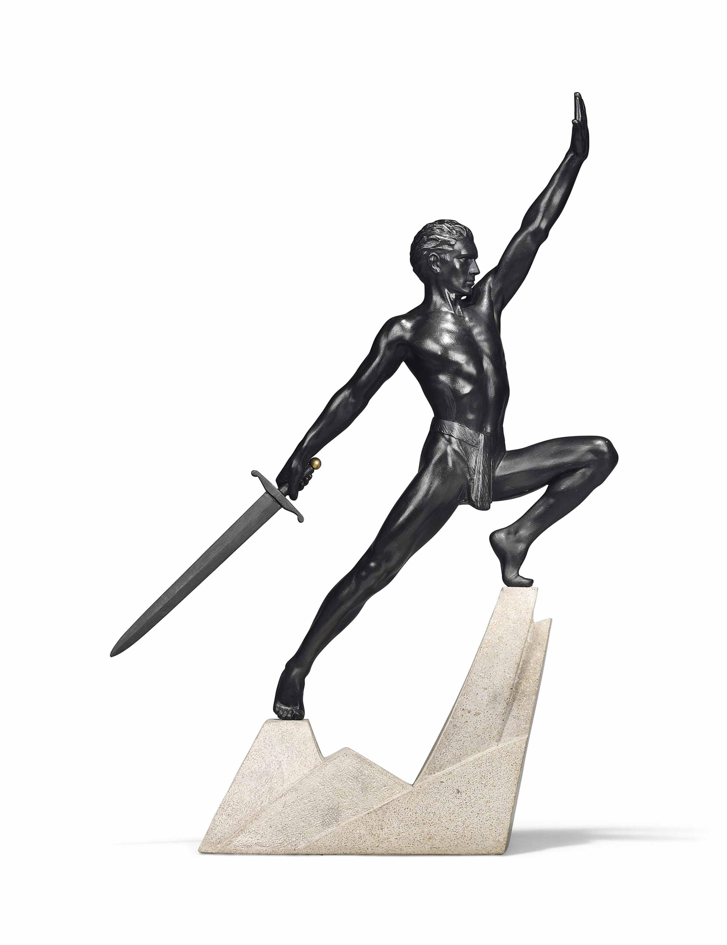 A MAX LE VERRIER (1891-1973) ART DECO COLD-PAINTED SPELTER FIGURE
