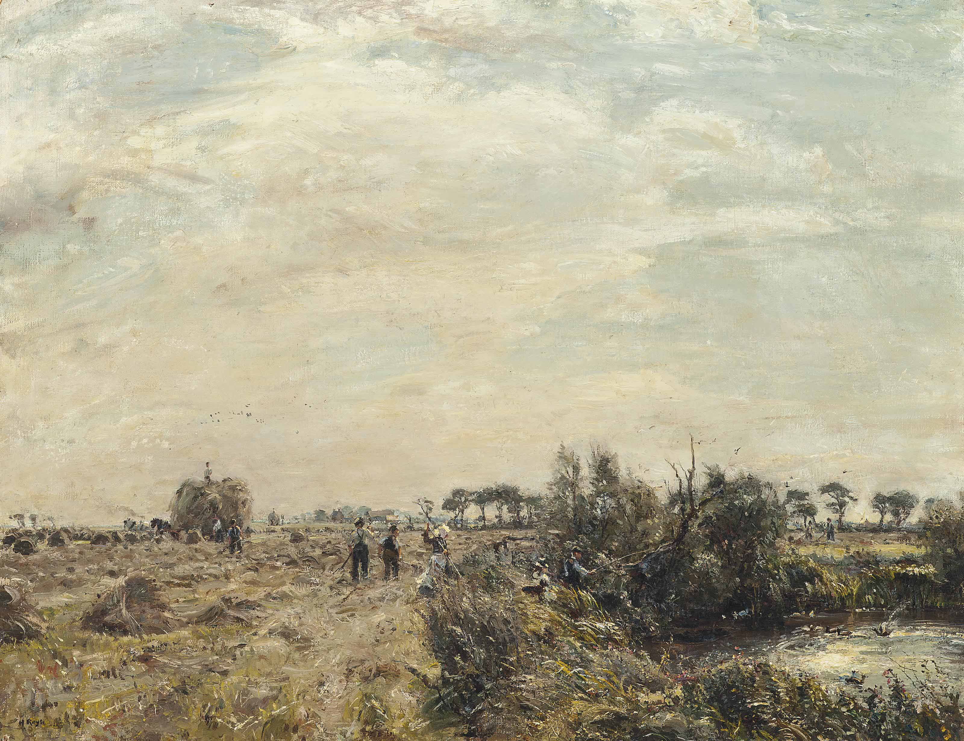Harvesters in a field and fishermen by a pond