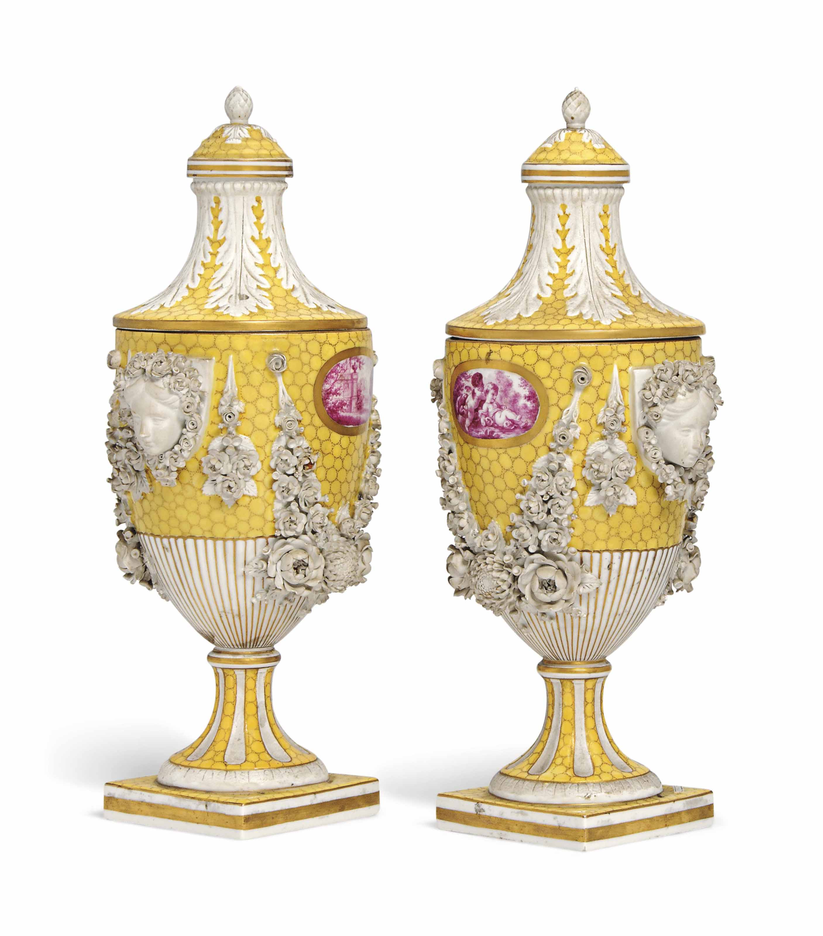 A PAIR OF SAMSON PORCELAIN YELLOW-GROUND VASES AND COVERS