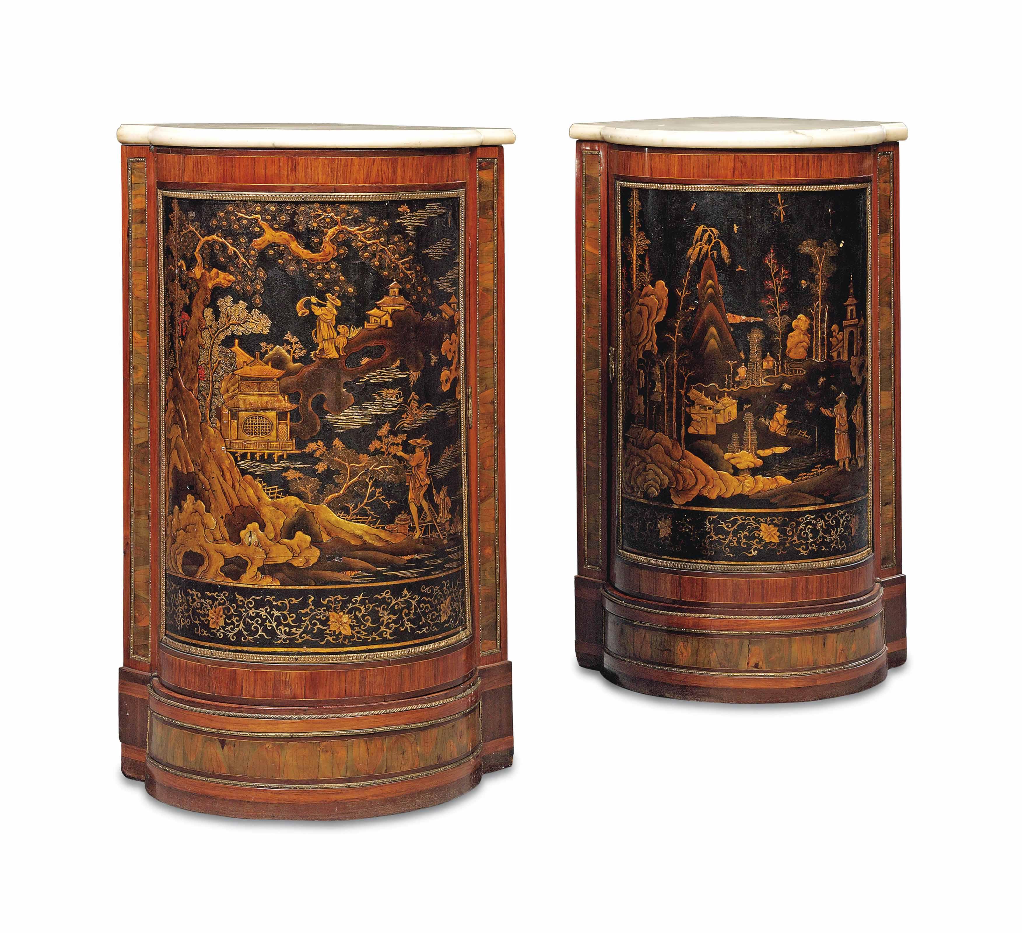 A PAIR OF LOUIS XVI ORMOLU-MOUNTED TULIPWOOD, SATINE, AMARANTH, OLIVEWOOD AND BLACK AND GILT VERNIS MARTIN ENCOIGNURES