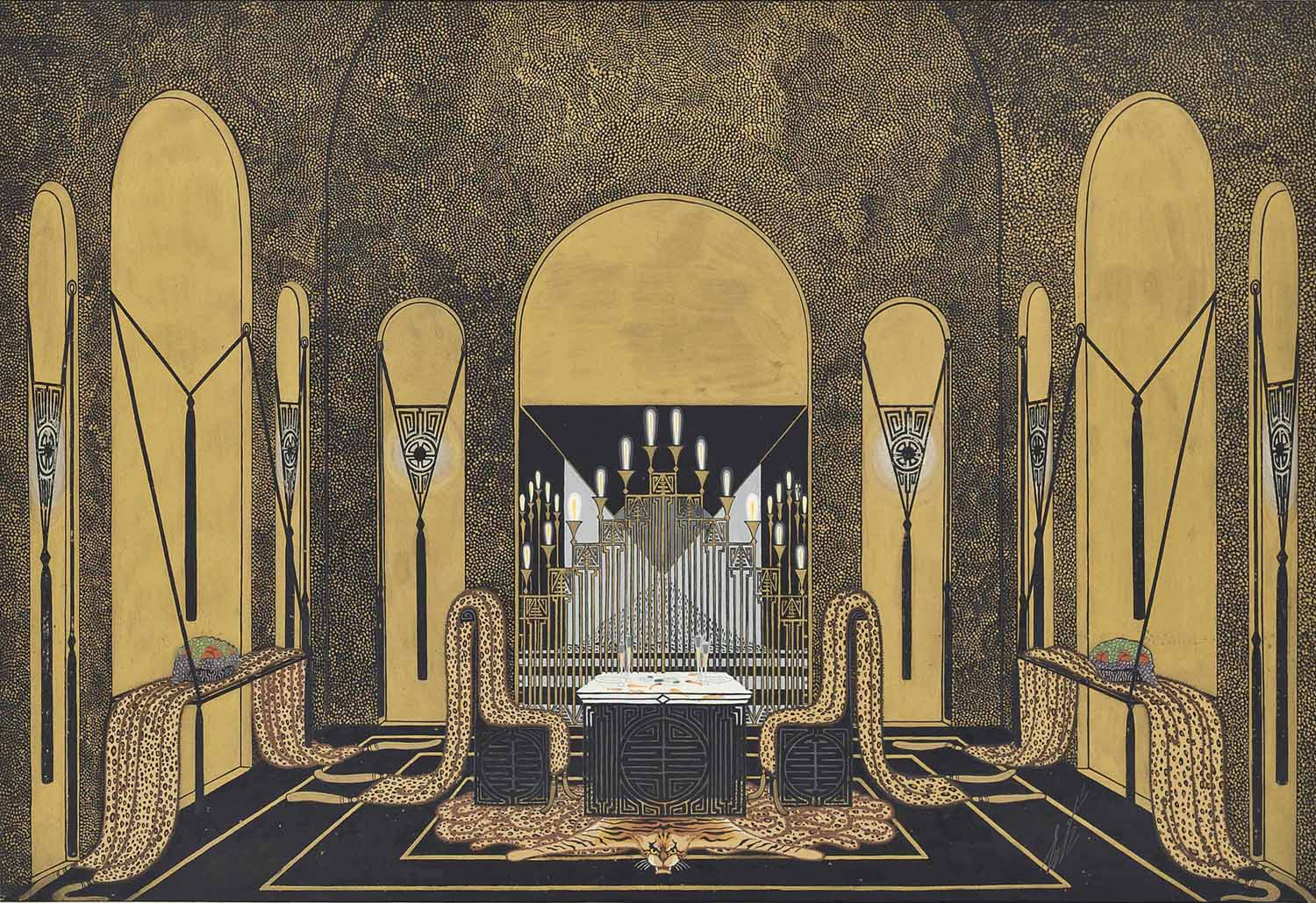 Elaborate black and gold interior with tiger rug