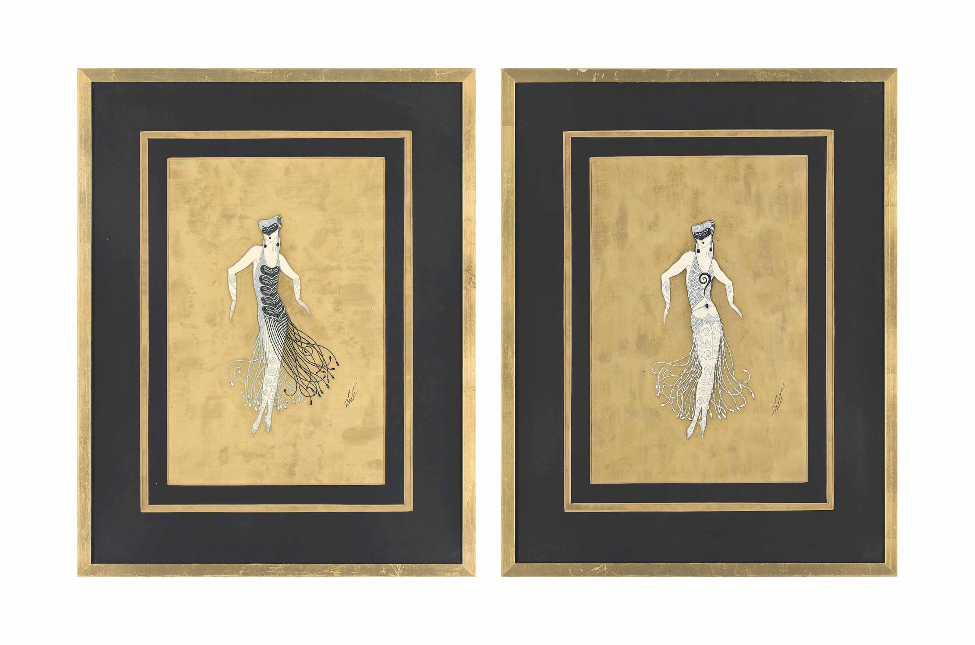 Two beaded costume designs for 'Dance Madness', MGM Hollywood, 1925