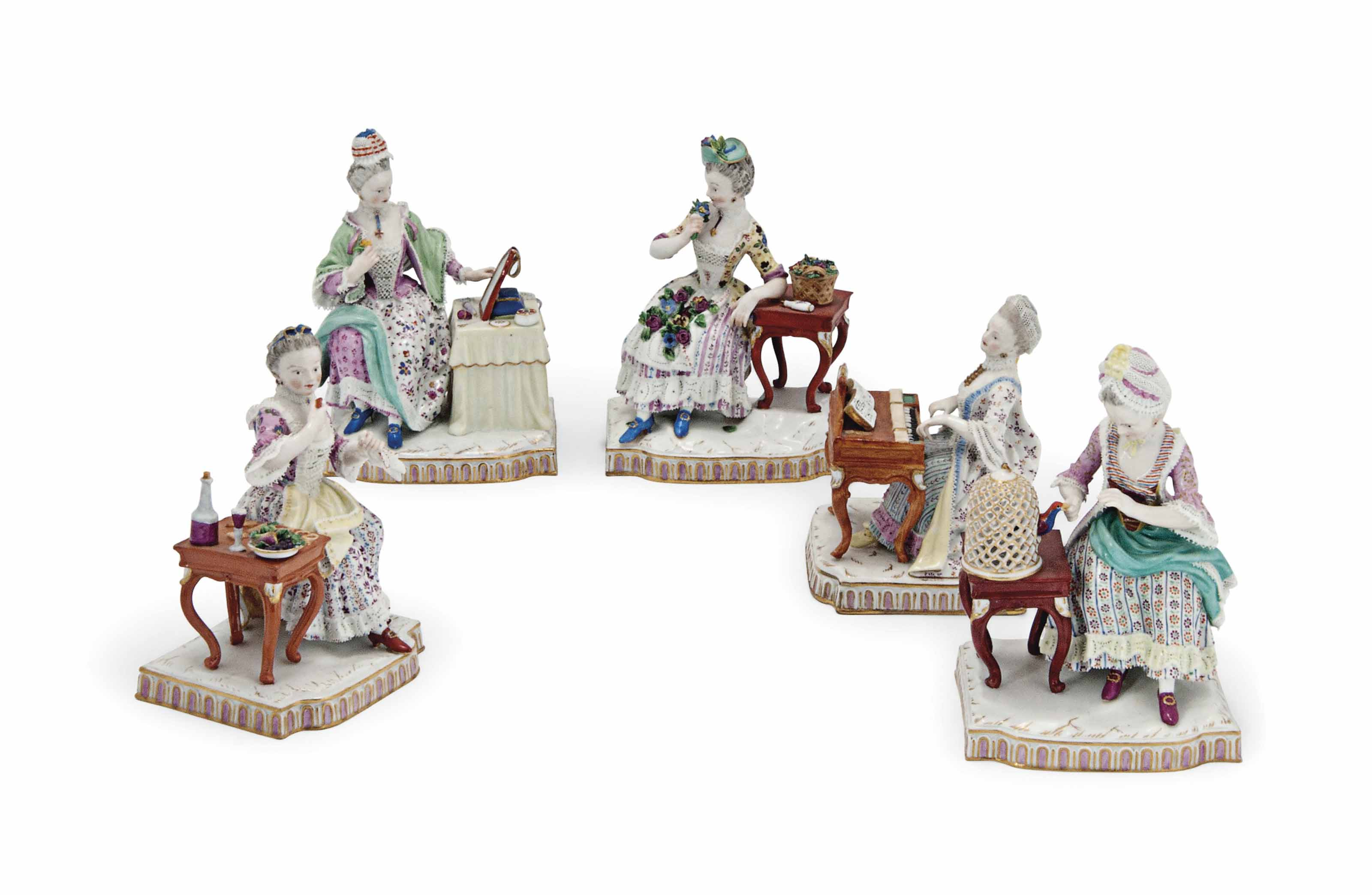 A SET OF FIVE MEISSEN FIGURES EMBLEMATIC OF THE SENSES