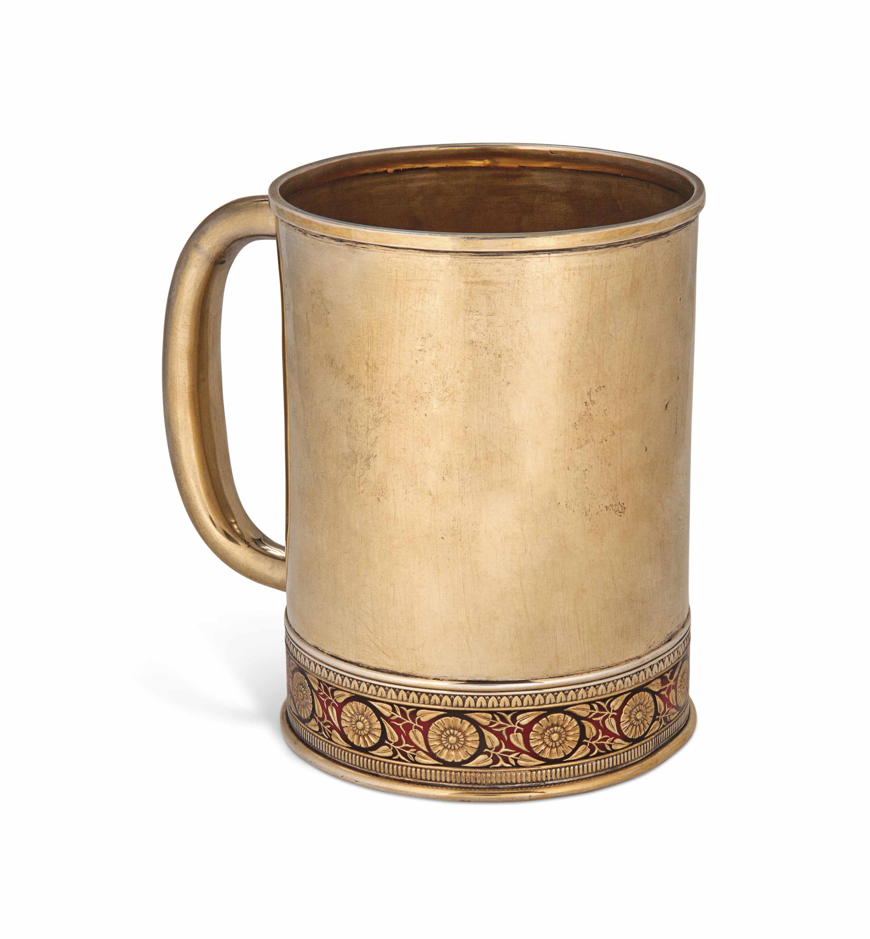 A LARGE RUSSIAN SILVER-GILT AND ENAMEL MUG