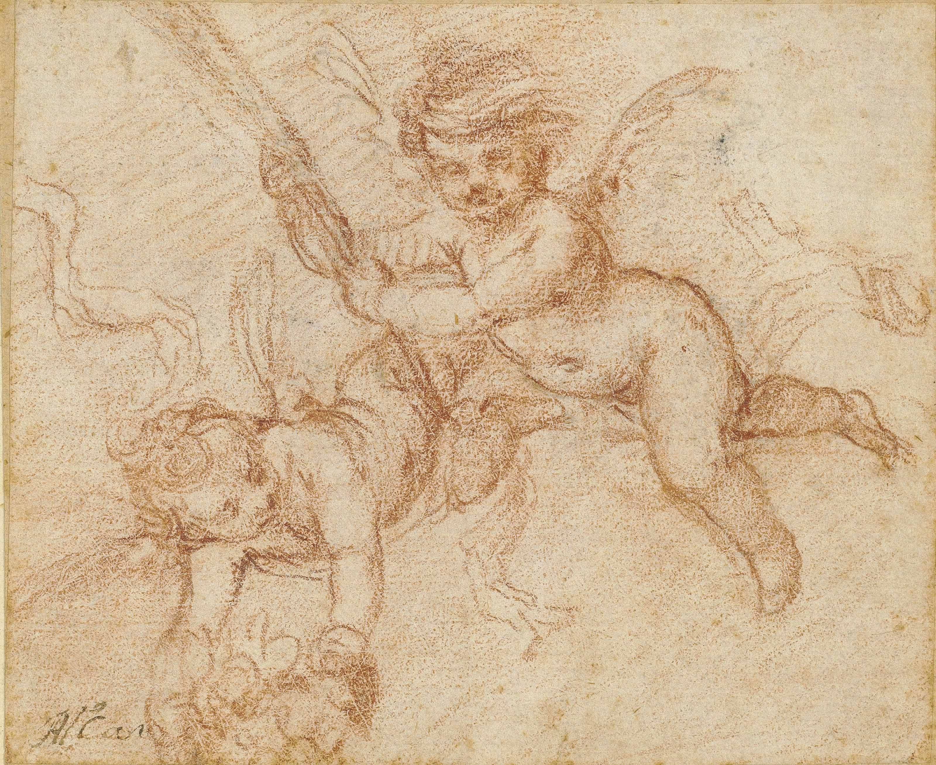 Putti holding a martyr's palm and flowers