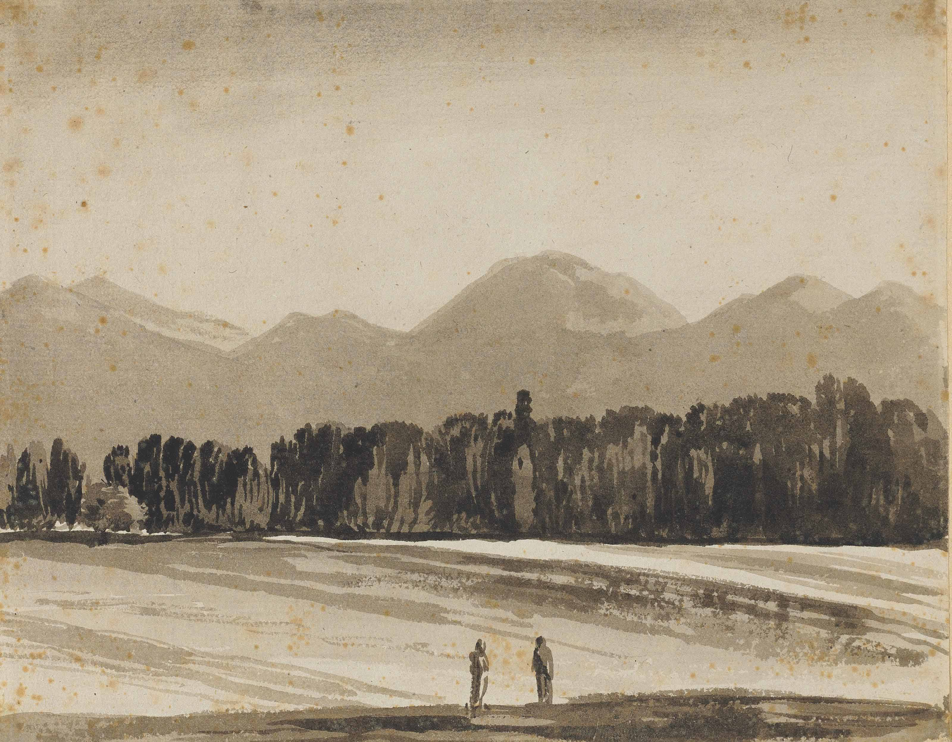 Two figures gazing at woods and distant mountains