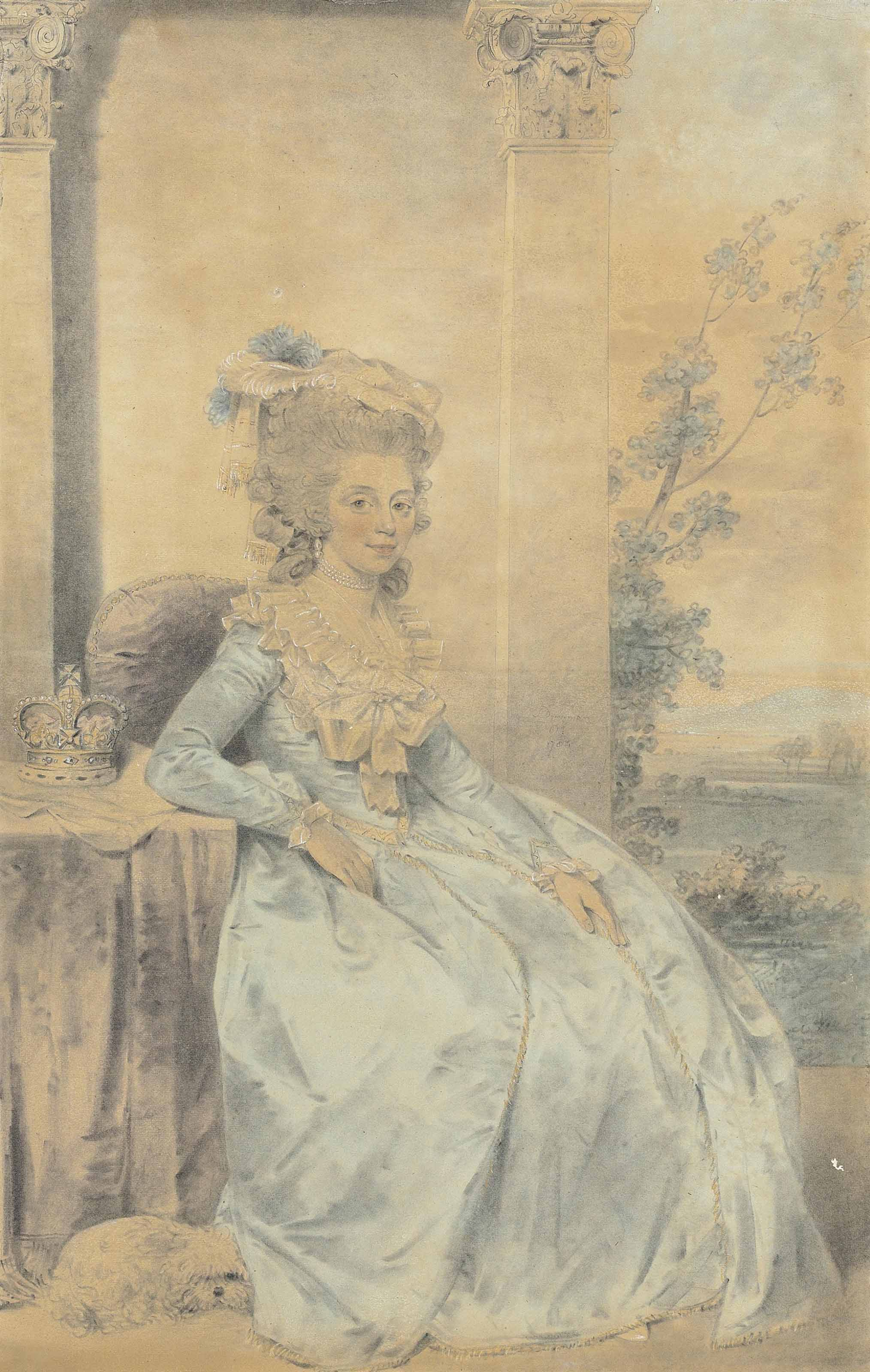 Portrait of Queen Charlotte, small full-length, wearing a pale blue dress, seated, with a small dog at her feet, and an extensive landscape beyond