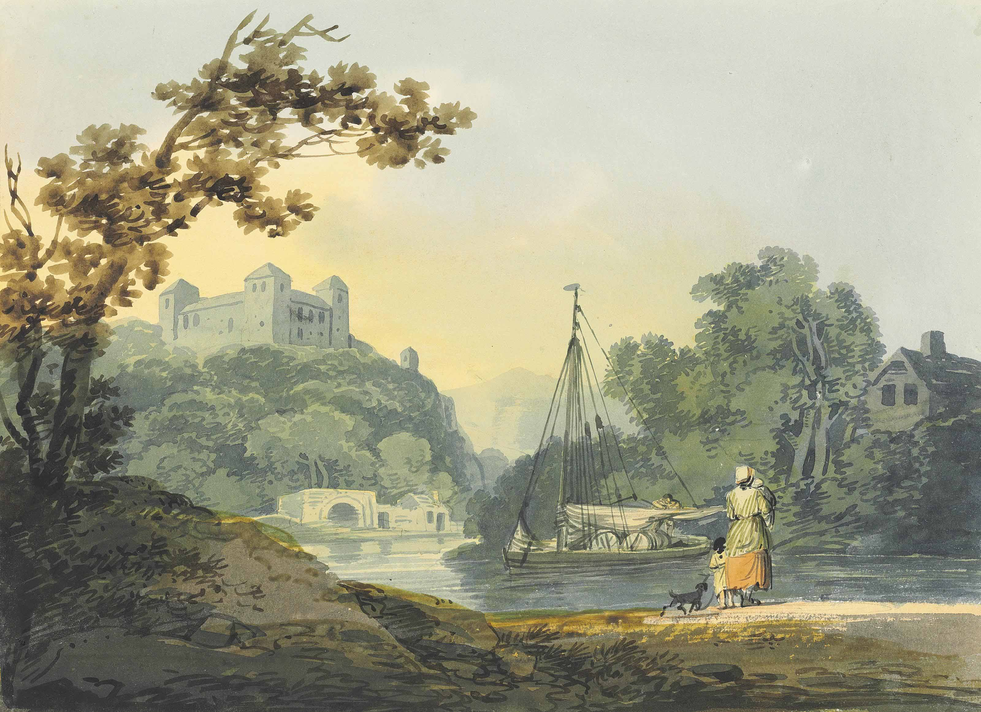 Figures and a dog on the banks of an estuary, a sailing barge and a castle beyond