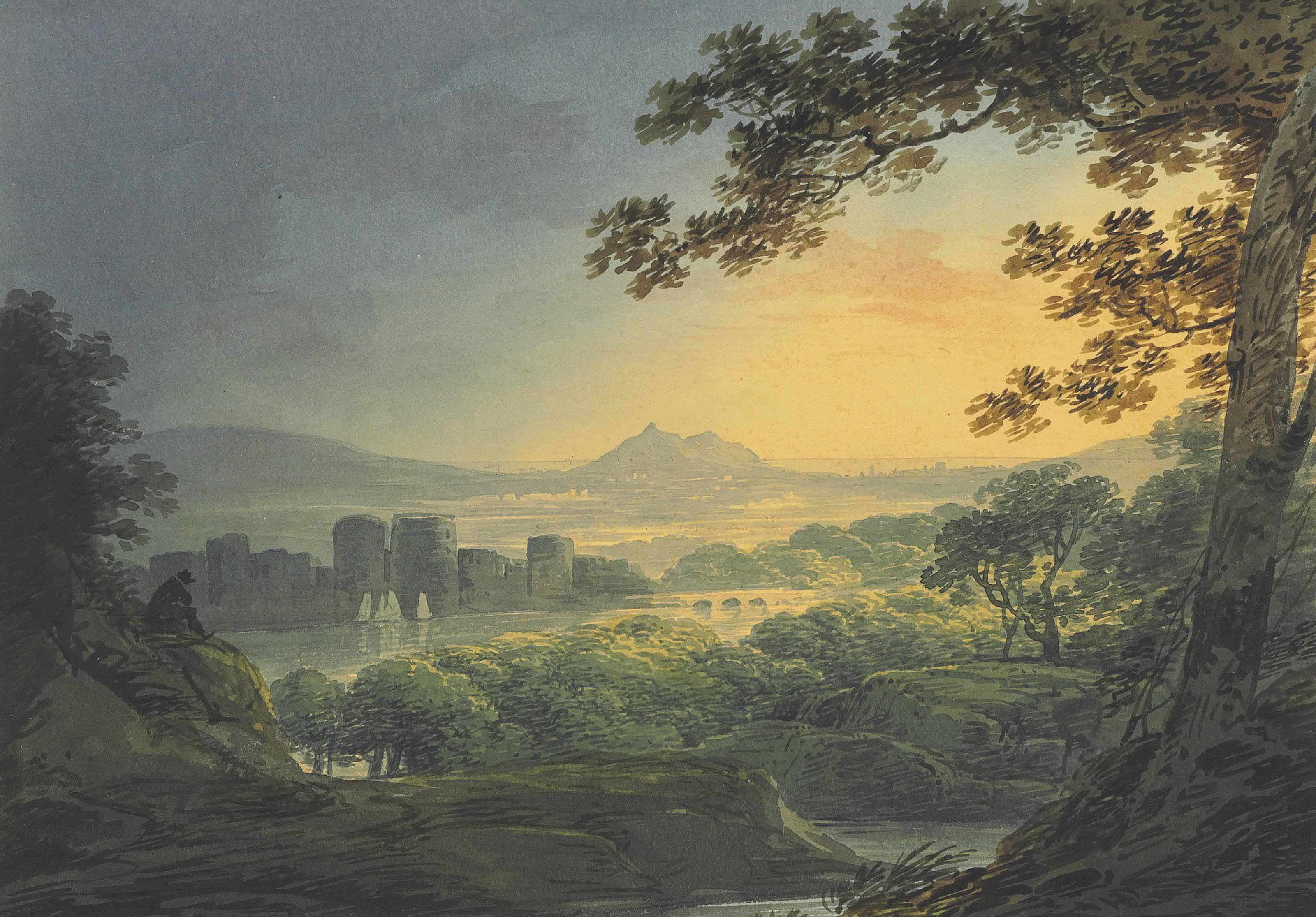 View of a castle in an extensive landscape at sunset; and Figures in a cove at high tide