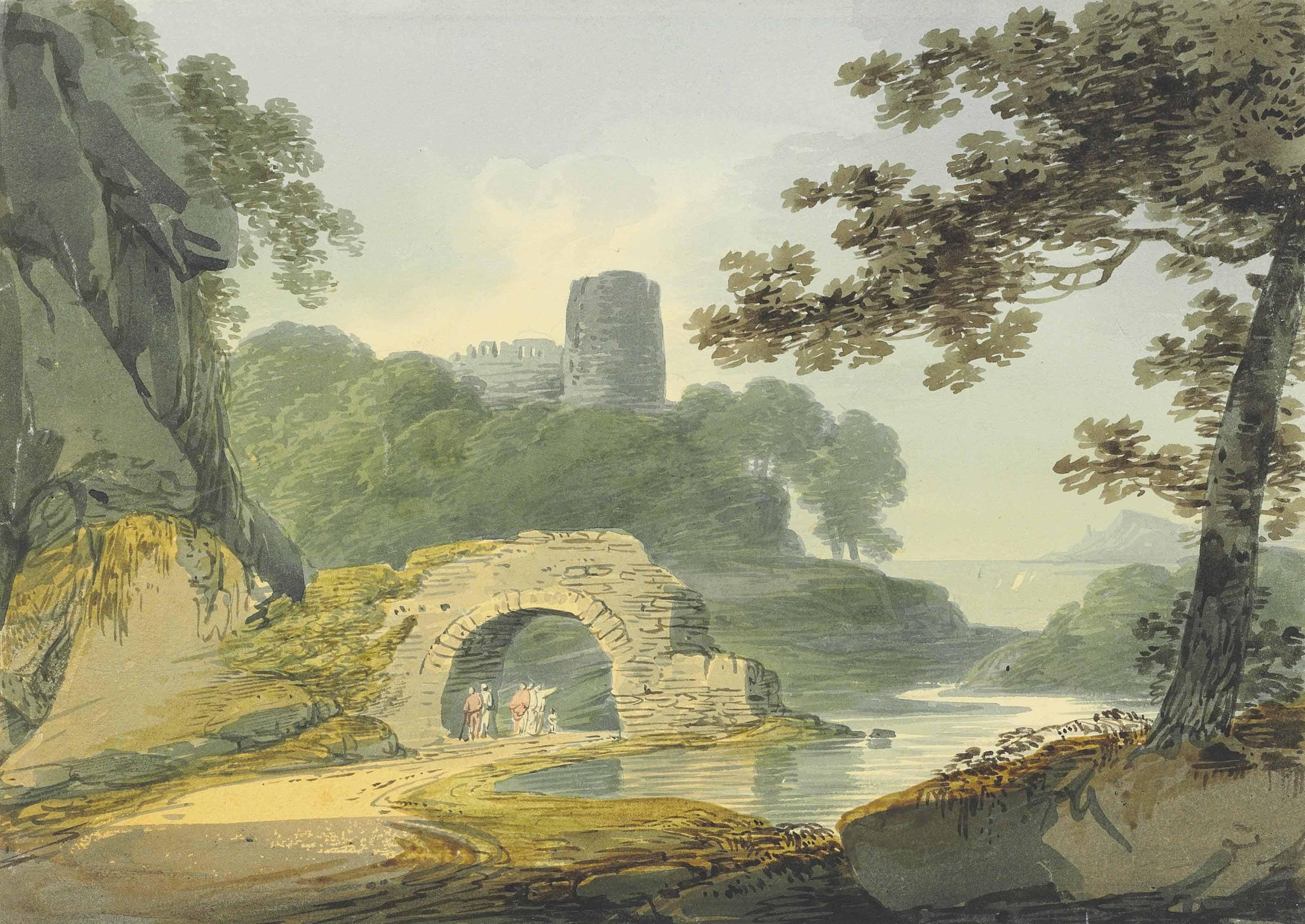 Figures in a rowing boat in an estuary, a village beyond; and Travellers beneath an arch, a ruined keep beyond