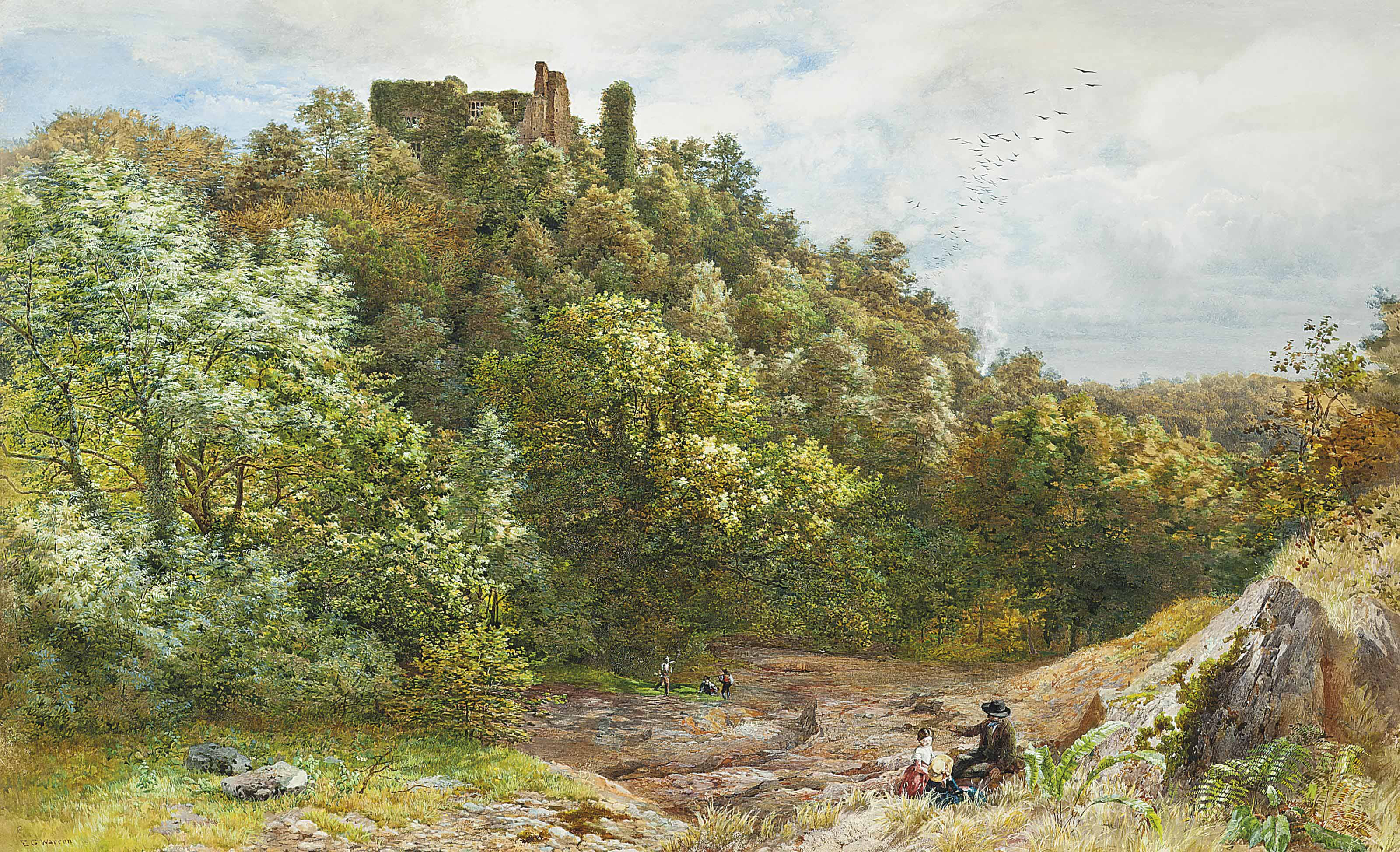 A picnic before the ruins of Berry Pomeroy Castle, Devon