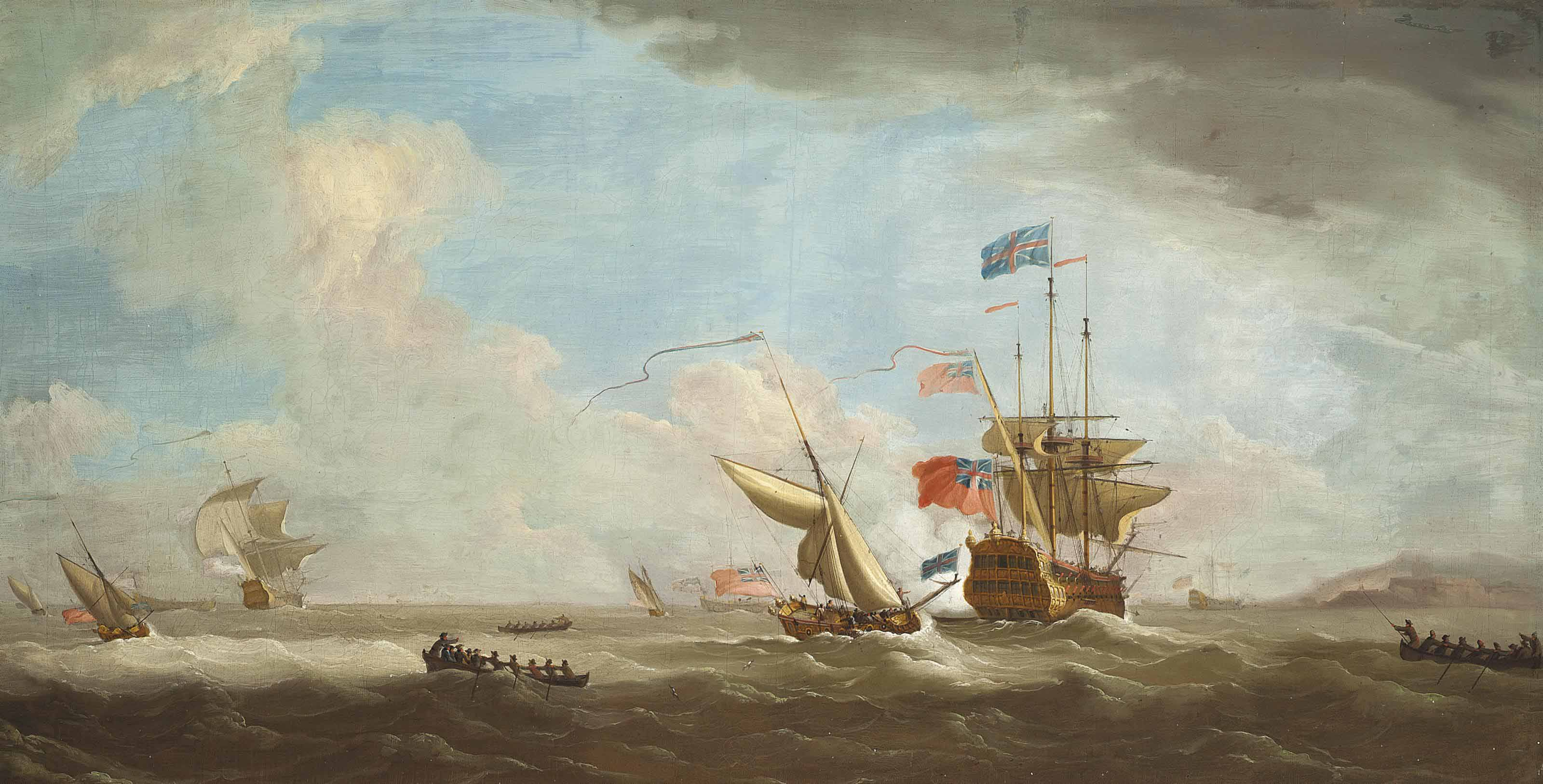 Ships of the fleet in a stiff breeze off the coast, the flagship of the Red Squadron heaving-to ahead of an approaching Admiralty yacht