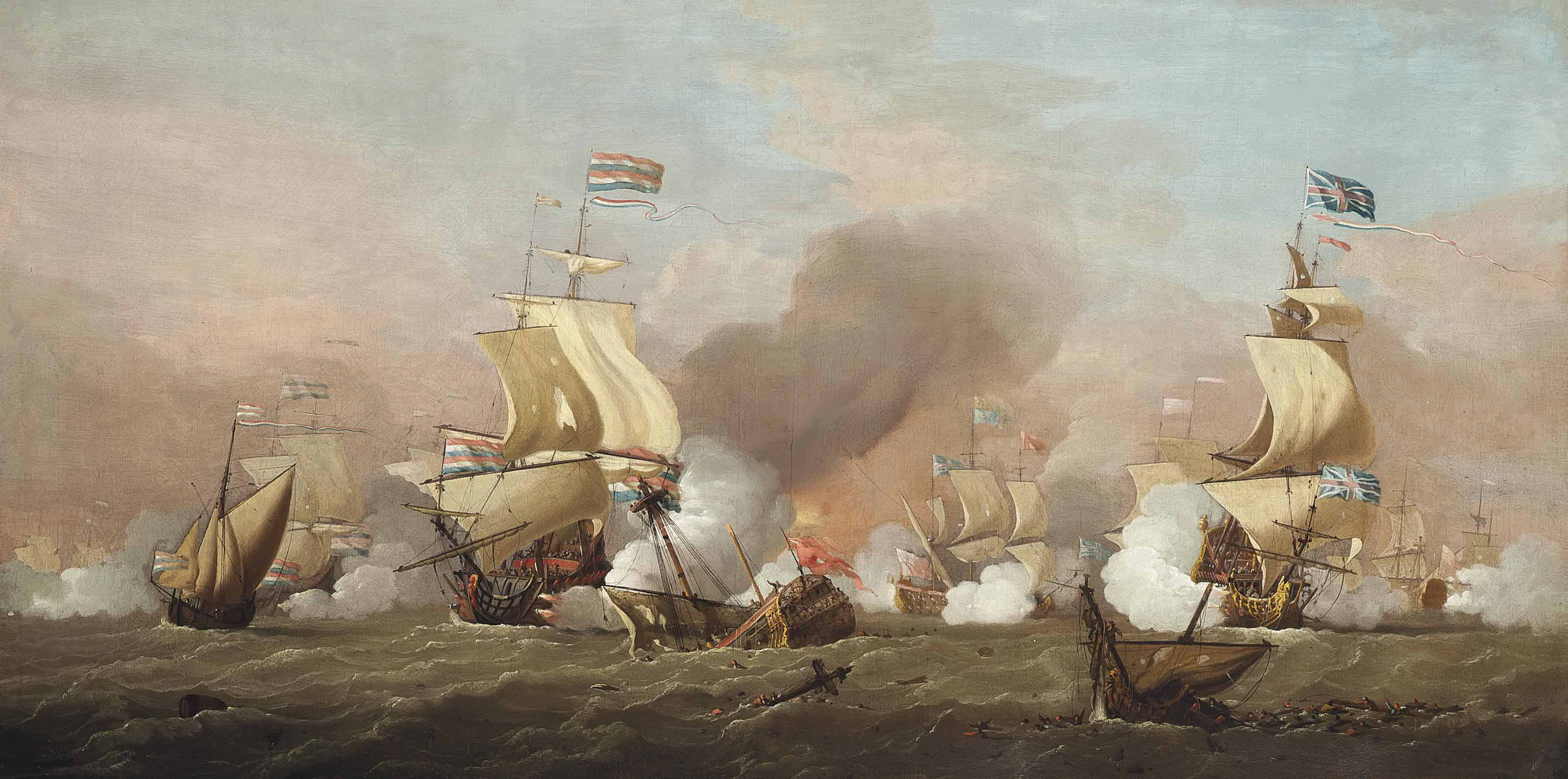 The battle of Texel, 11th August 1673: Two large First Rates, English and Dutch, engaged in a fierce broadside duel, with H.R.H. Prince Rupert's flagship Royal Sovereign in action astern of them
