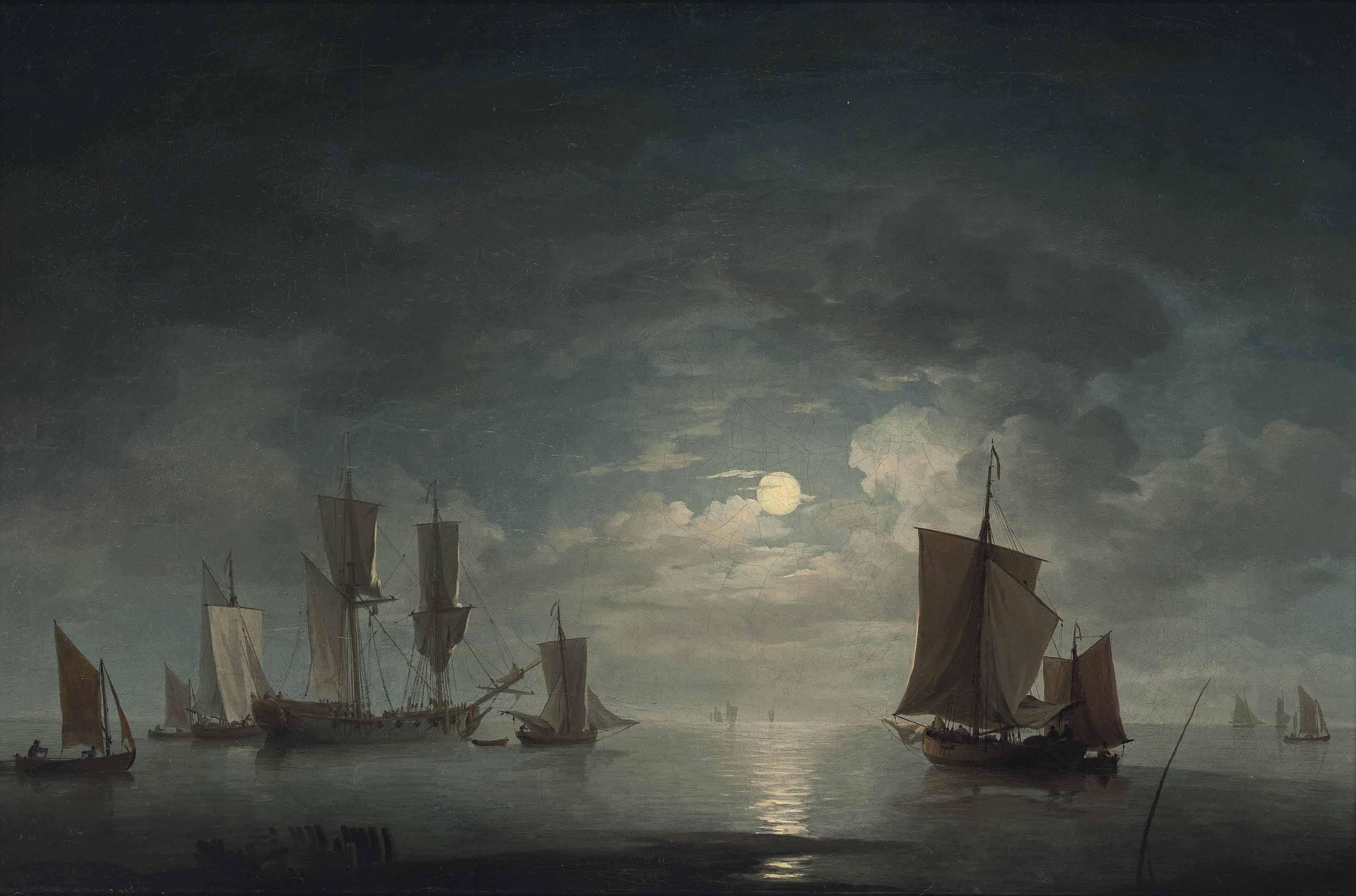 An English merchant brig and coastal craft becalmed by moonlight