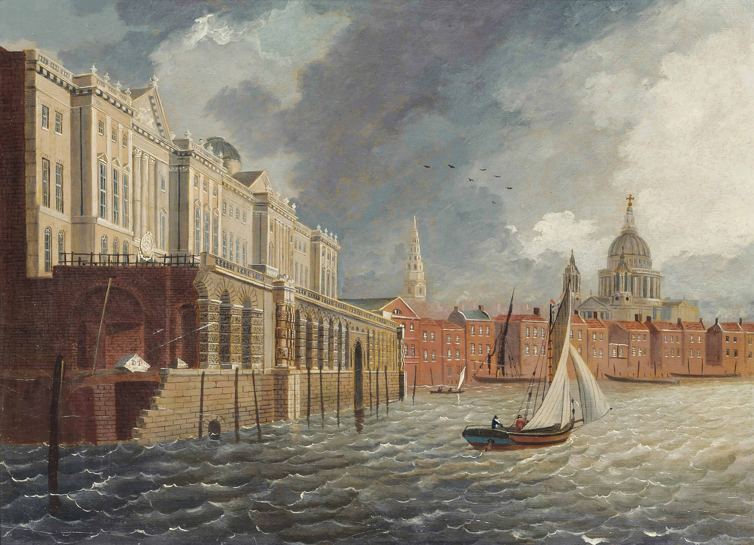 A cutter on the Thames before Somerset House, with the dome of St. Paul's Cathedral seen in the distance
