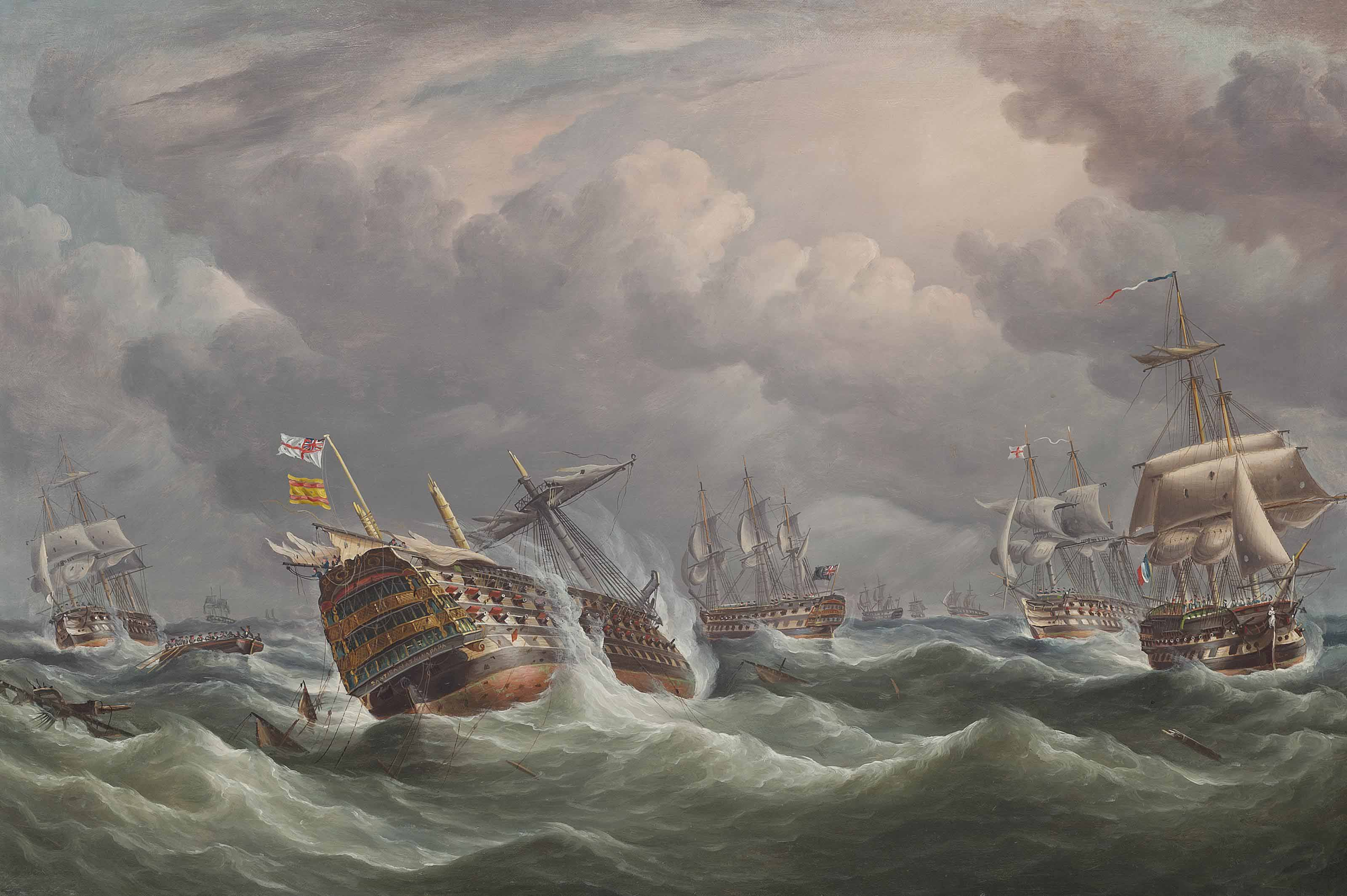 The aftermath of Trafalgar: The Spanish flagship Santísima Trinidad wallowing in the swell under prize colours