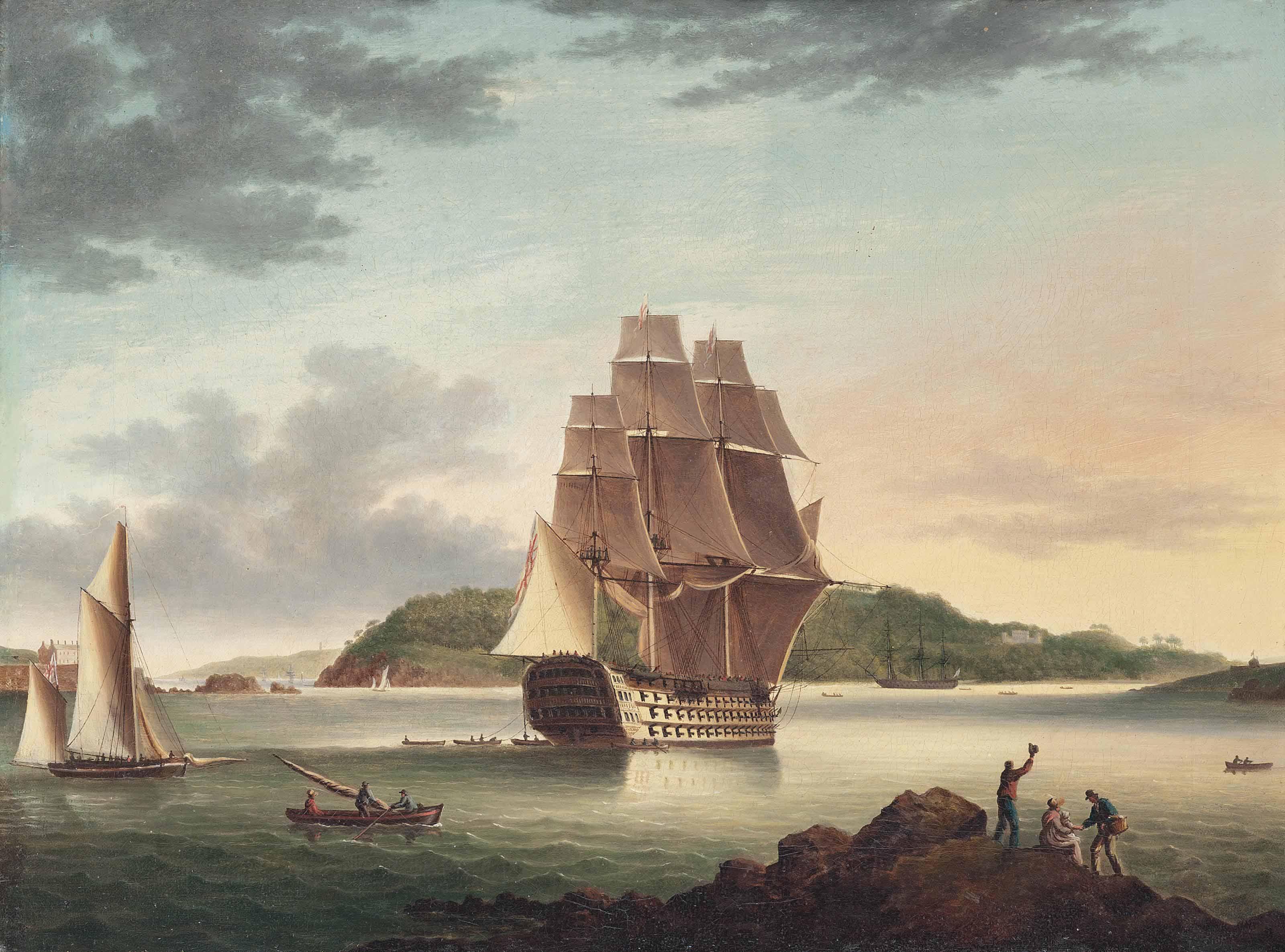 H.M.S. Britannia passing Mt. Edgcumbe in Plymouth Sound