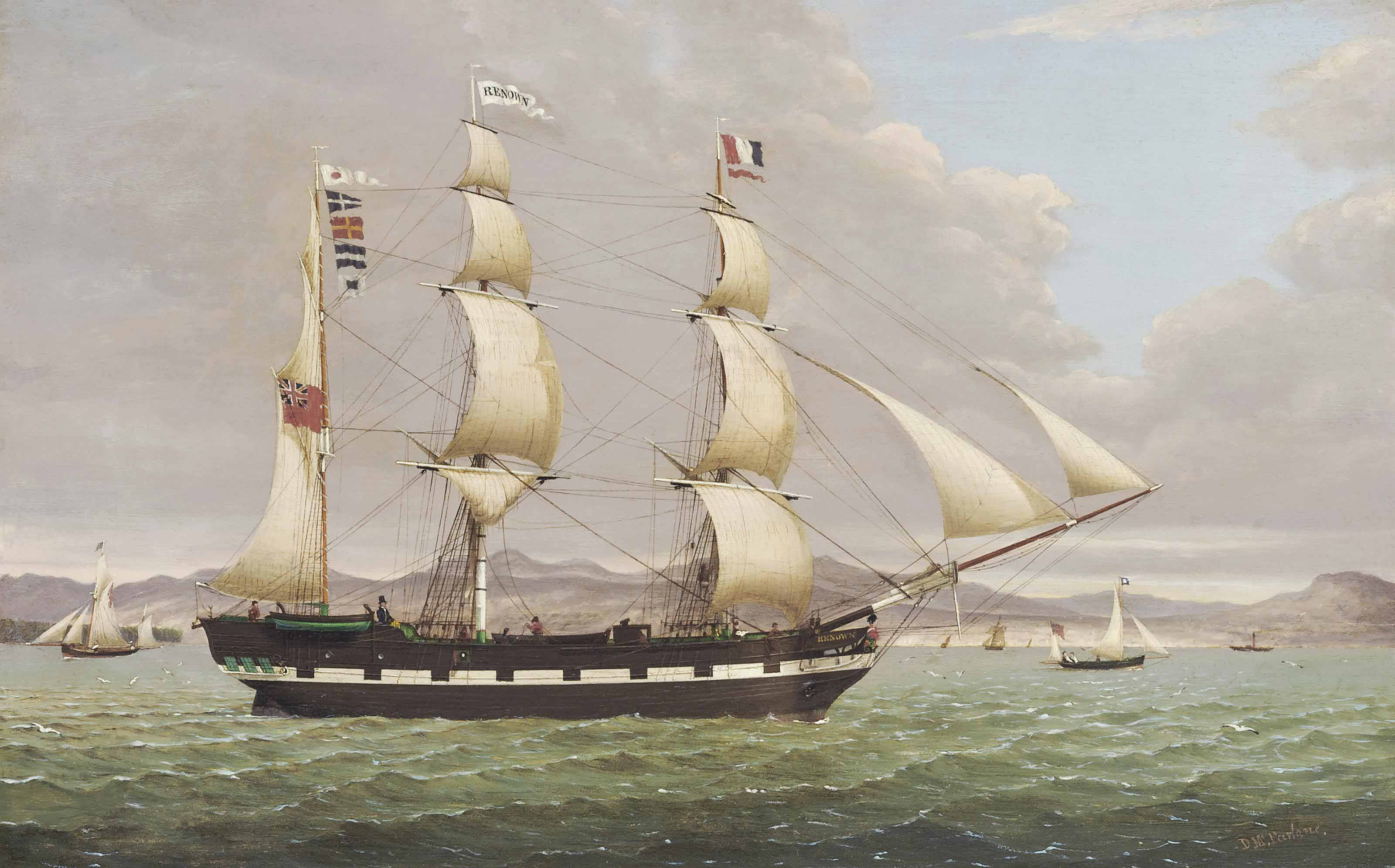 The merchant barque Renown heading down the Clyde outward-bound for the West Indies