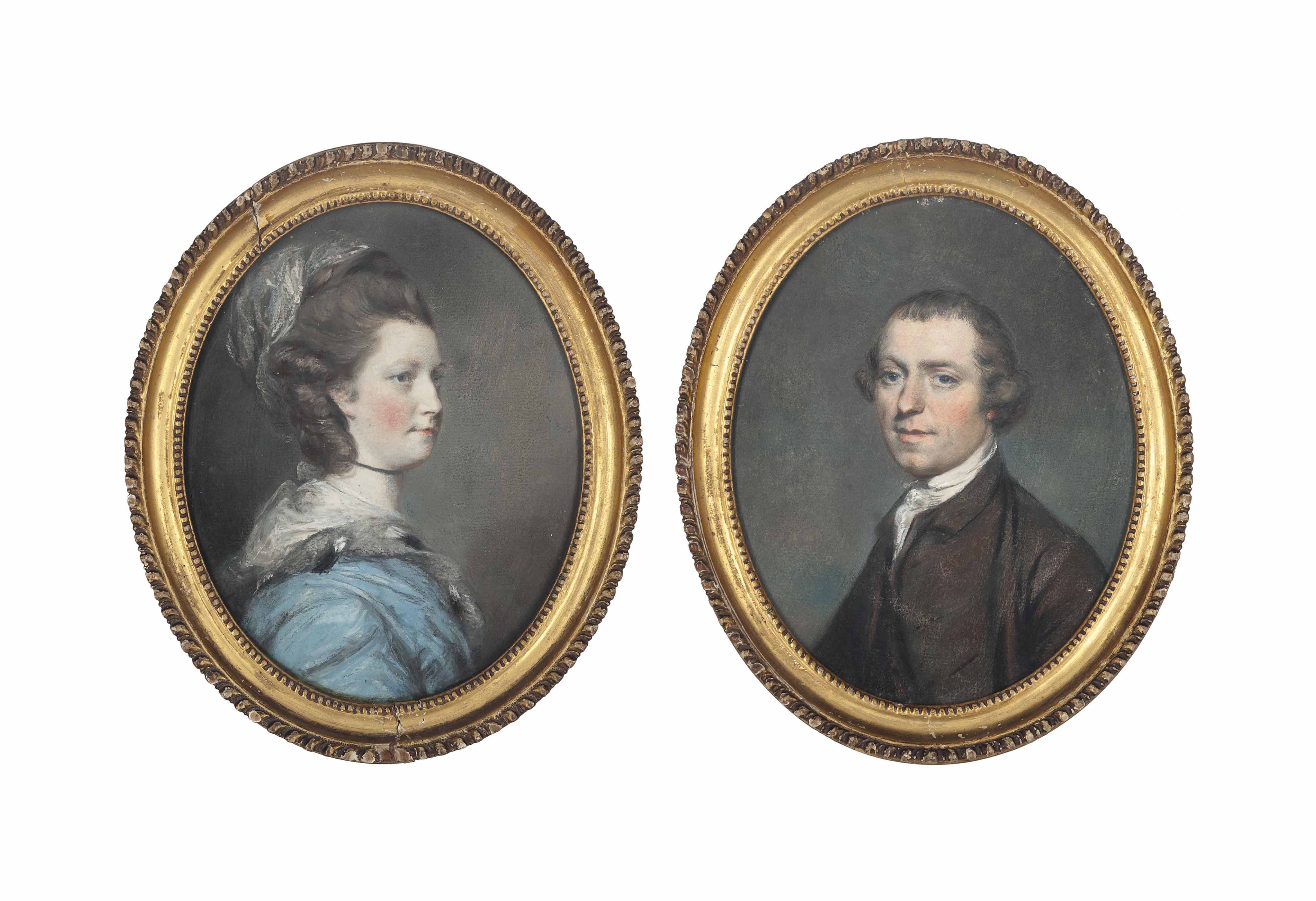Portrait of a gentleman, traditionally identified as Mr. Smyth, of New Bond Street, bust-length, in a brown coat and waistcoat with a white stock; and Portrait of a lady traditionally identified as his wife, Mrs. Smyth, bust-length, in a blue dress and a lace shawl